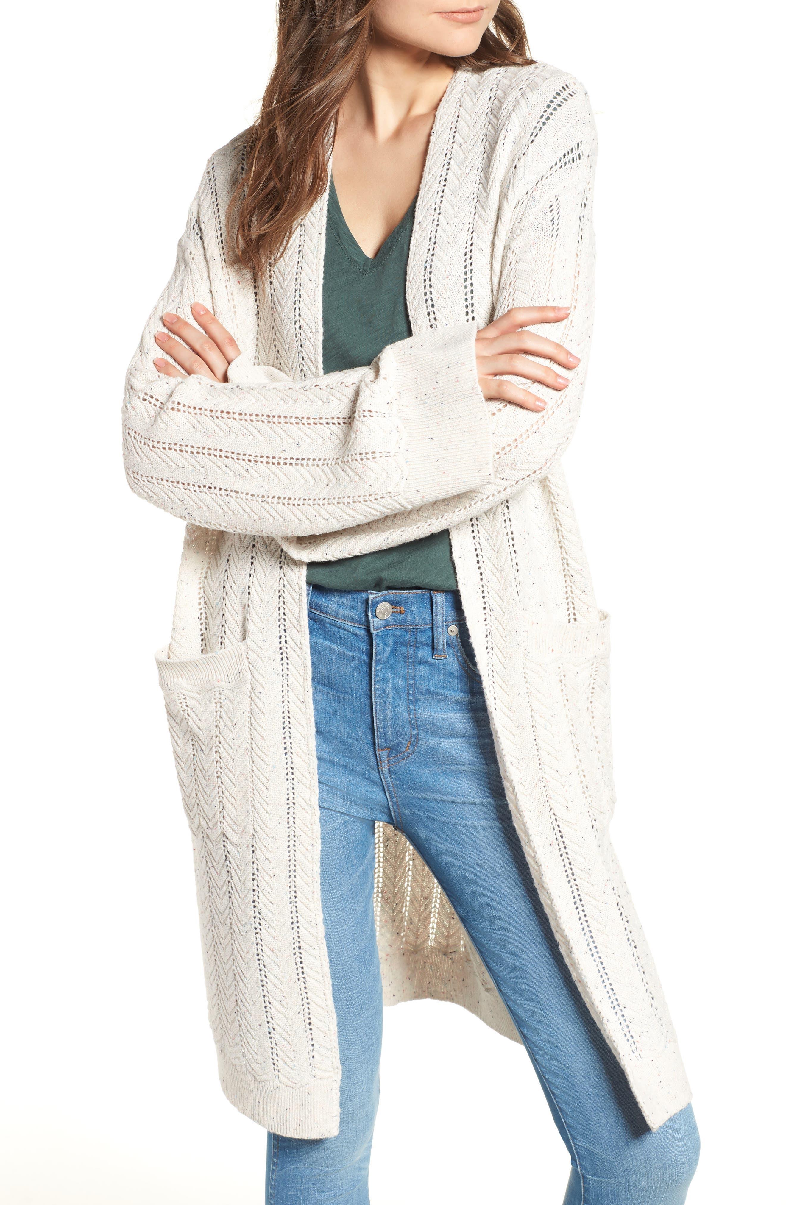 Long Tweed Herringbone Stitch Cardigan,                         Main,                         color, Beige Oatmeal Heather
