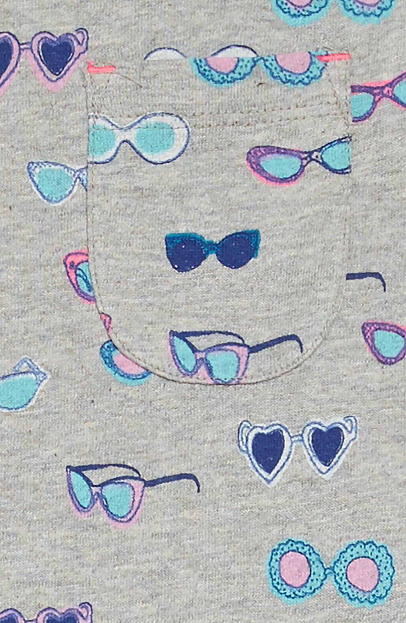 Drop-Waist Jersey Dress,                             Alternate thumbnail 3, color,                             Grey Marl Sunglasses