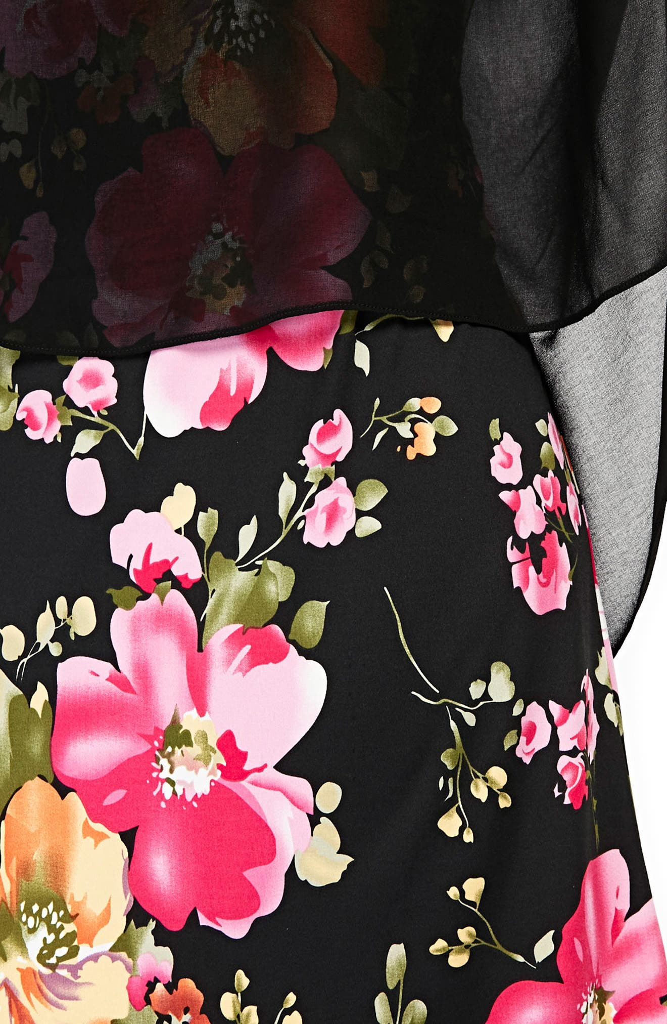 Floral Overlay Shift Dress,                             Alternate thumbnail 3, color,                             Black