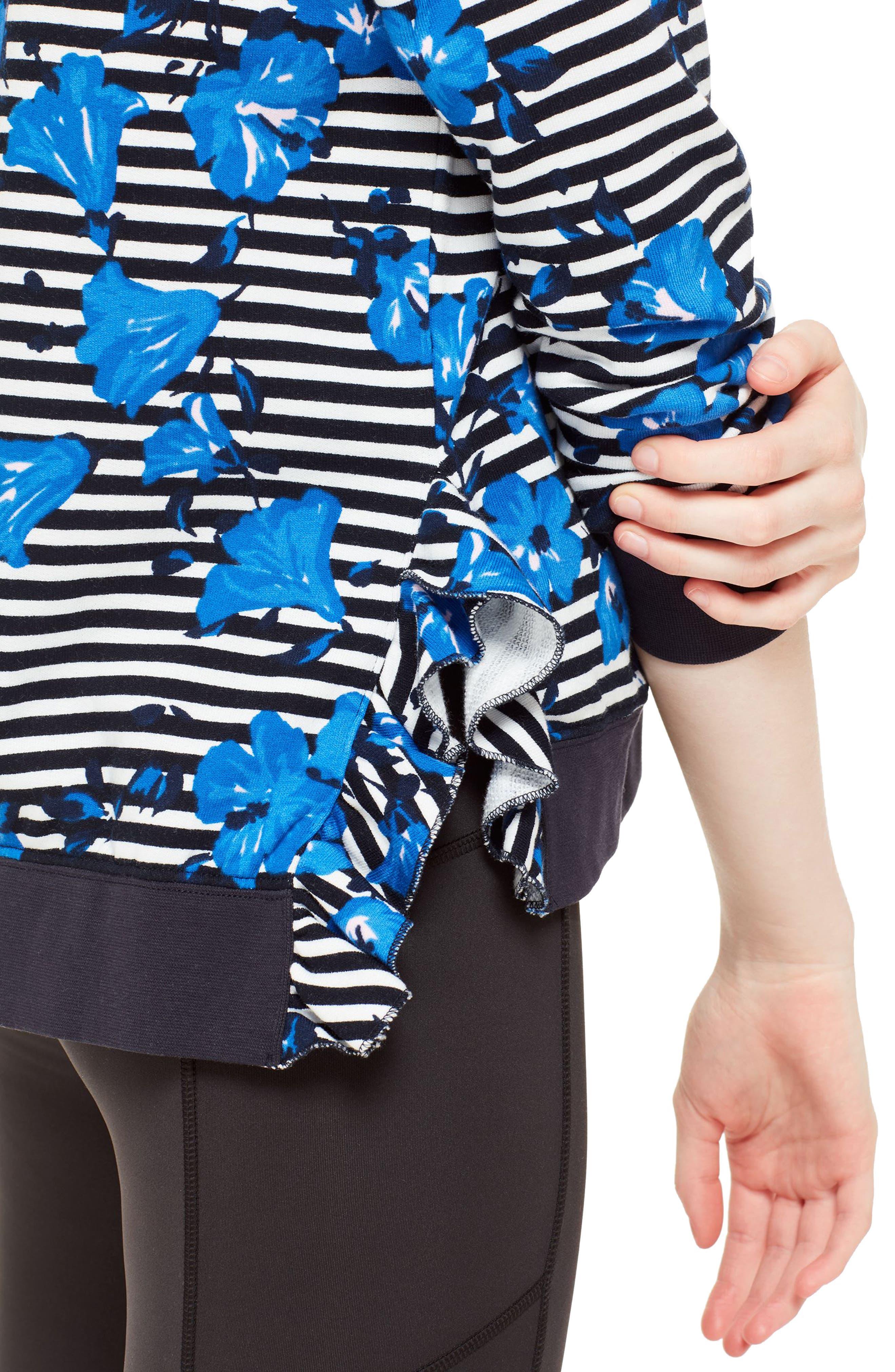 hibiscus stripe sweatshirt,                             Alternate thumbnail 4, color,                             Rich Navy