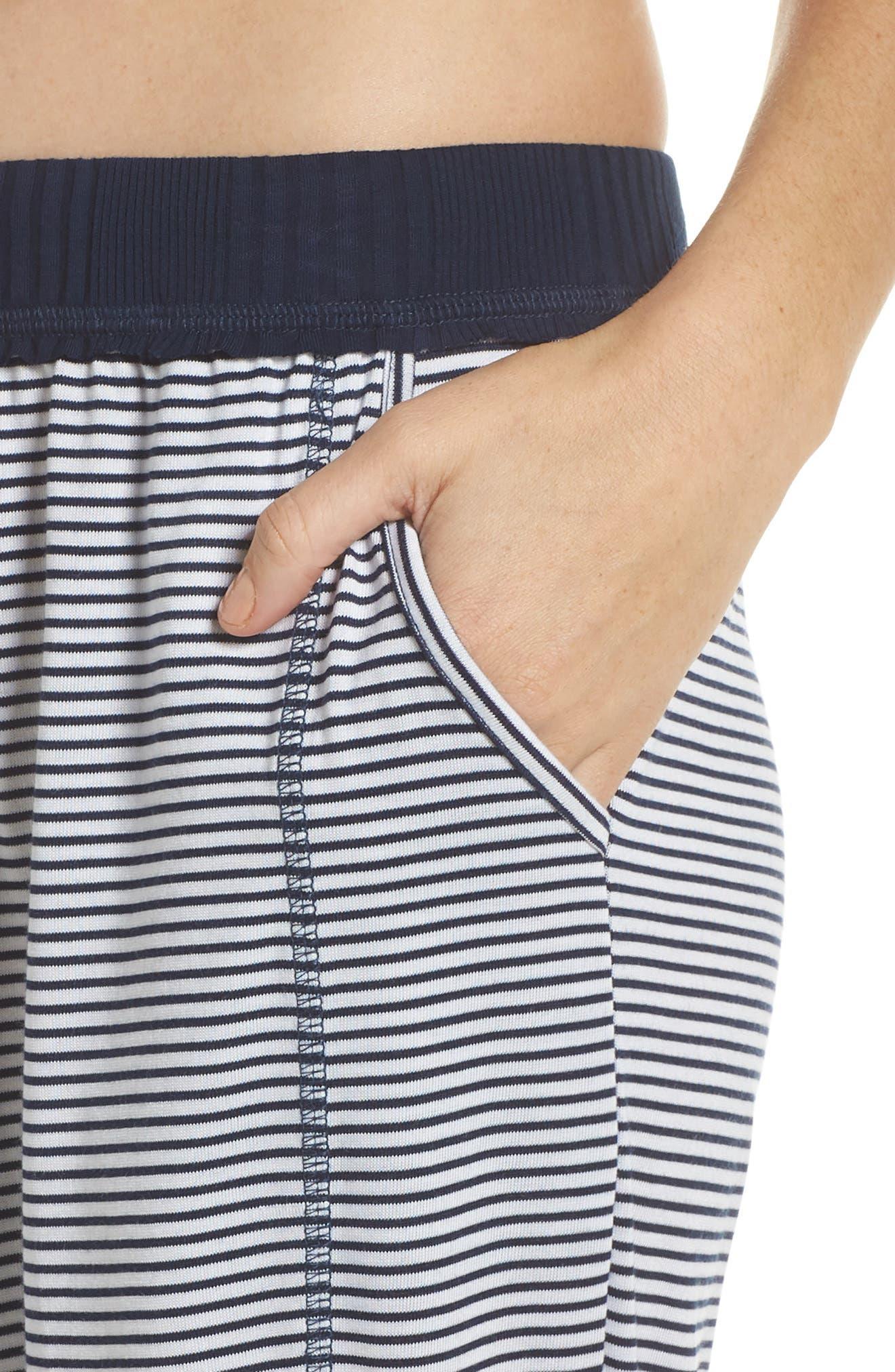 Crop Pajama Pants,                             Alternate thumbnail 5, color,                             Lakeside Stripe