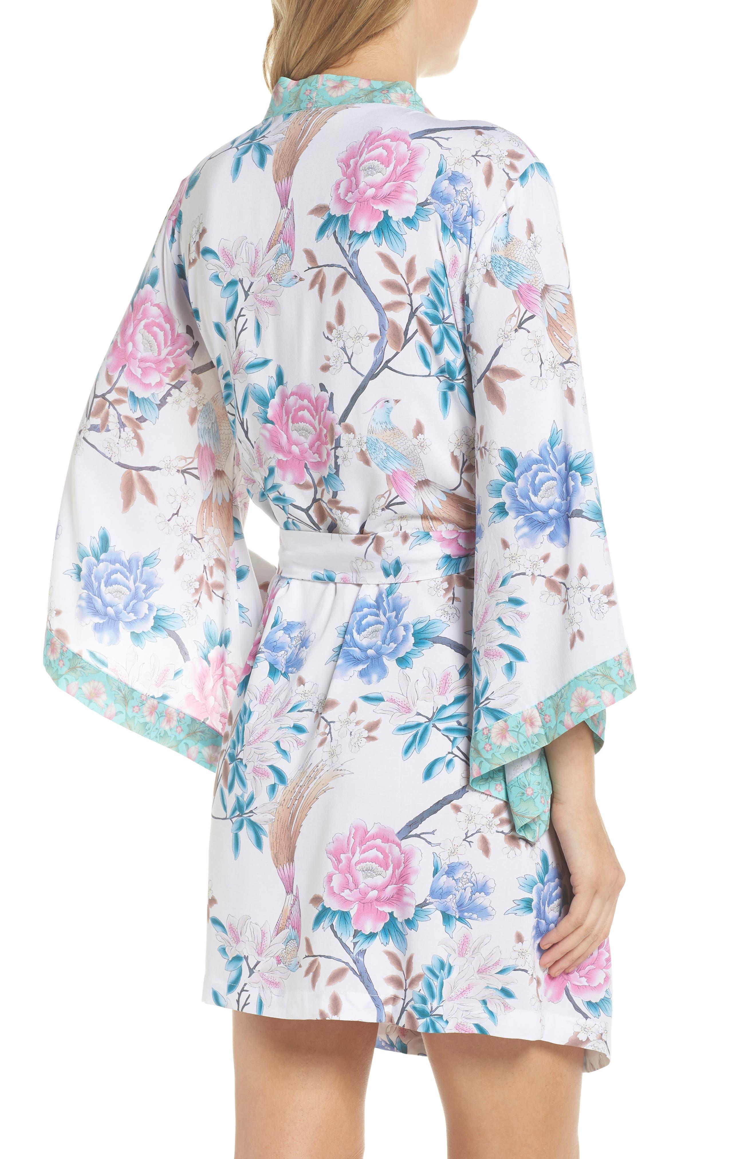 Talulah Boho Short Robe,                             Alternate thumbnail 2, color,                             Ivory Floral