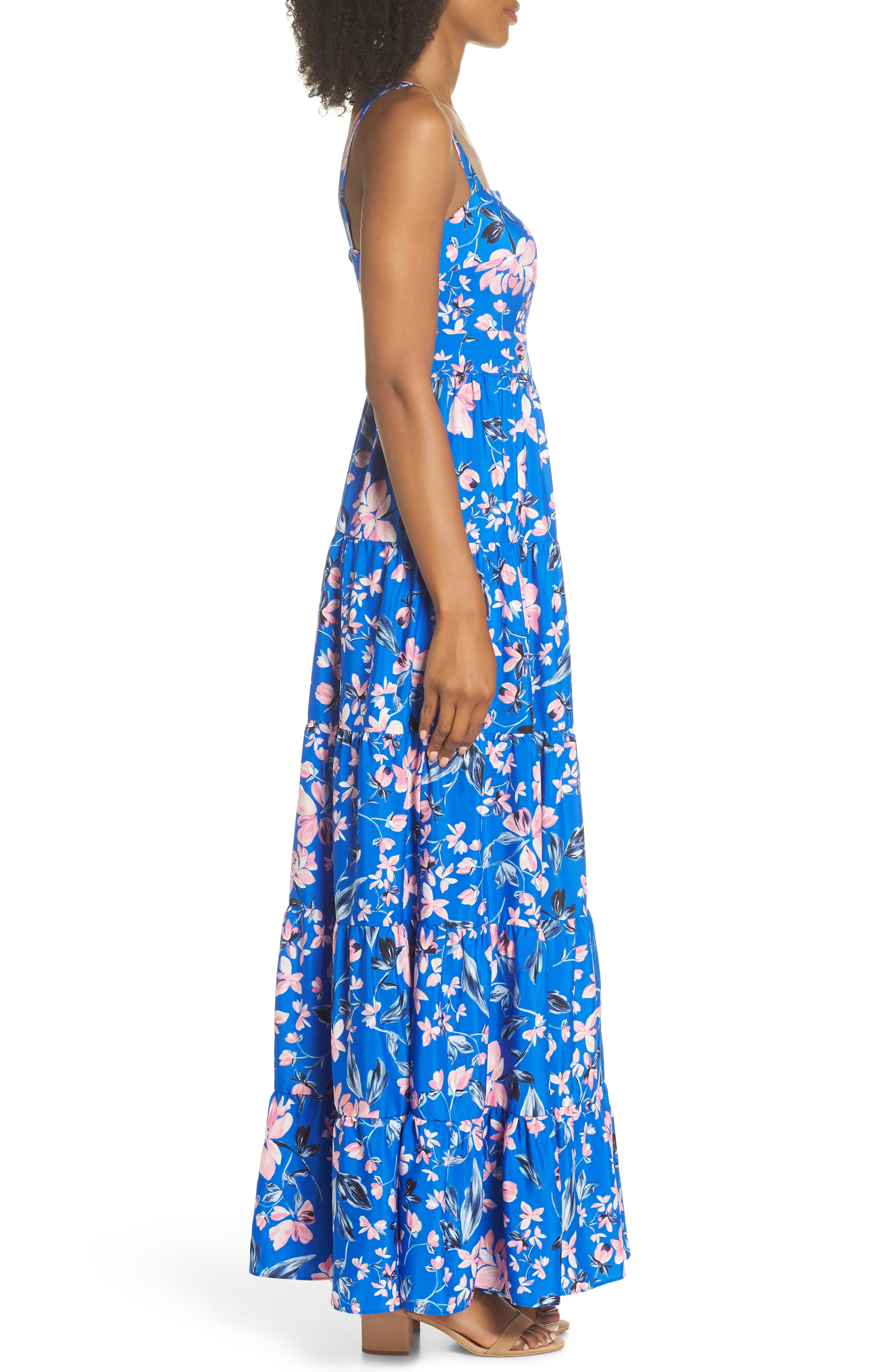 Floral Tiered Maxi Dress,                             Alternate thumbnail 3, color,                             Cobalt