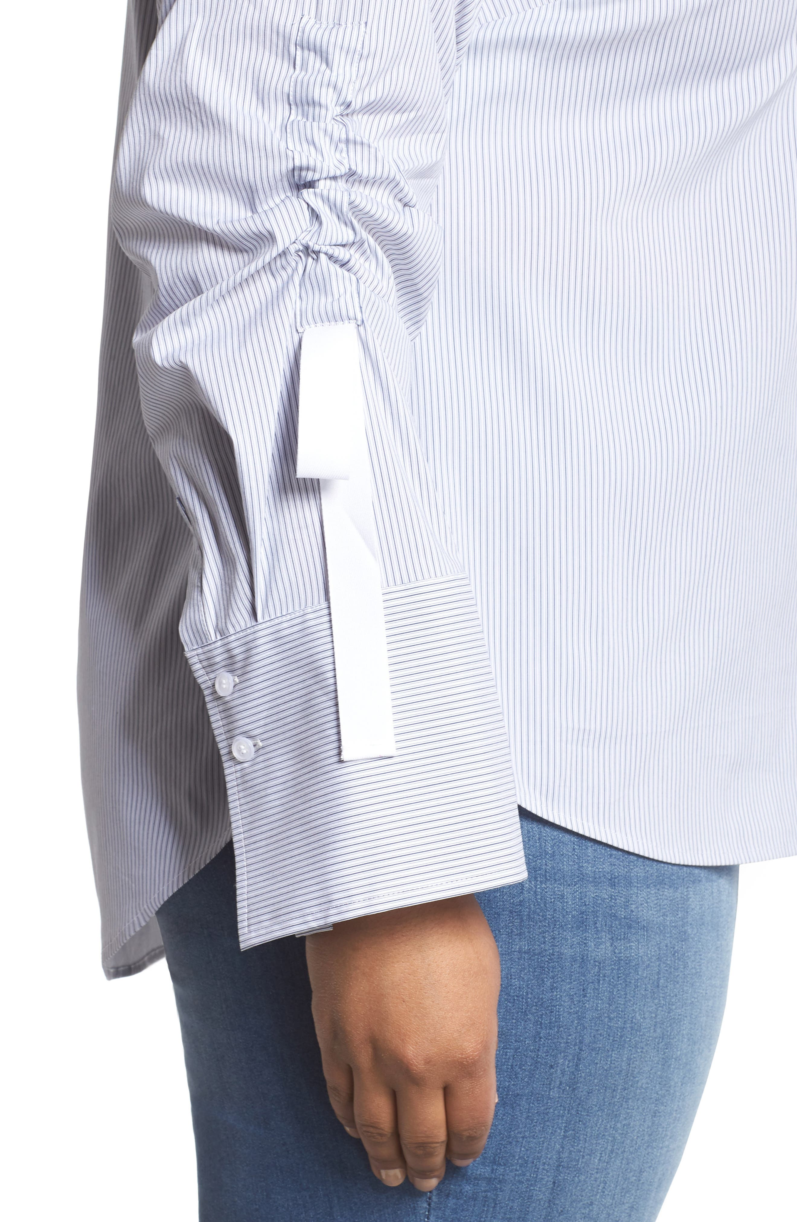 Gathered Sleeve Button Front Shirt,                             Alternate thumbnail 4, color,                             Blue/ White Stripe