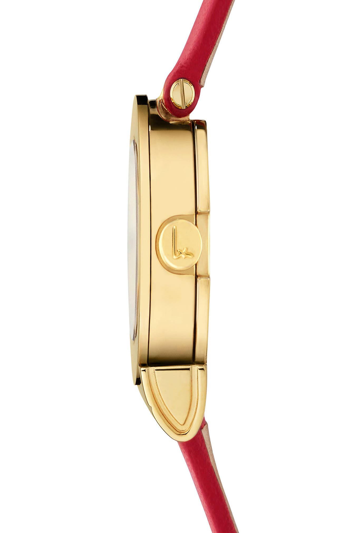 Gancino Leather Strap Watch, 22mm,                             Alternate thumbnail 3, color,                             Red/ Gold
