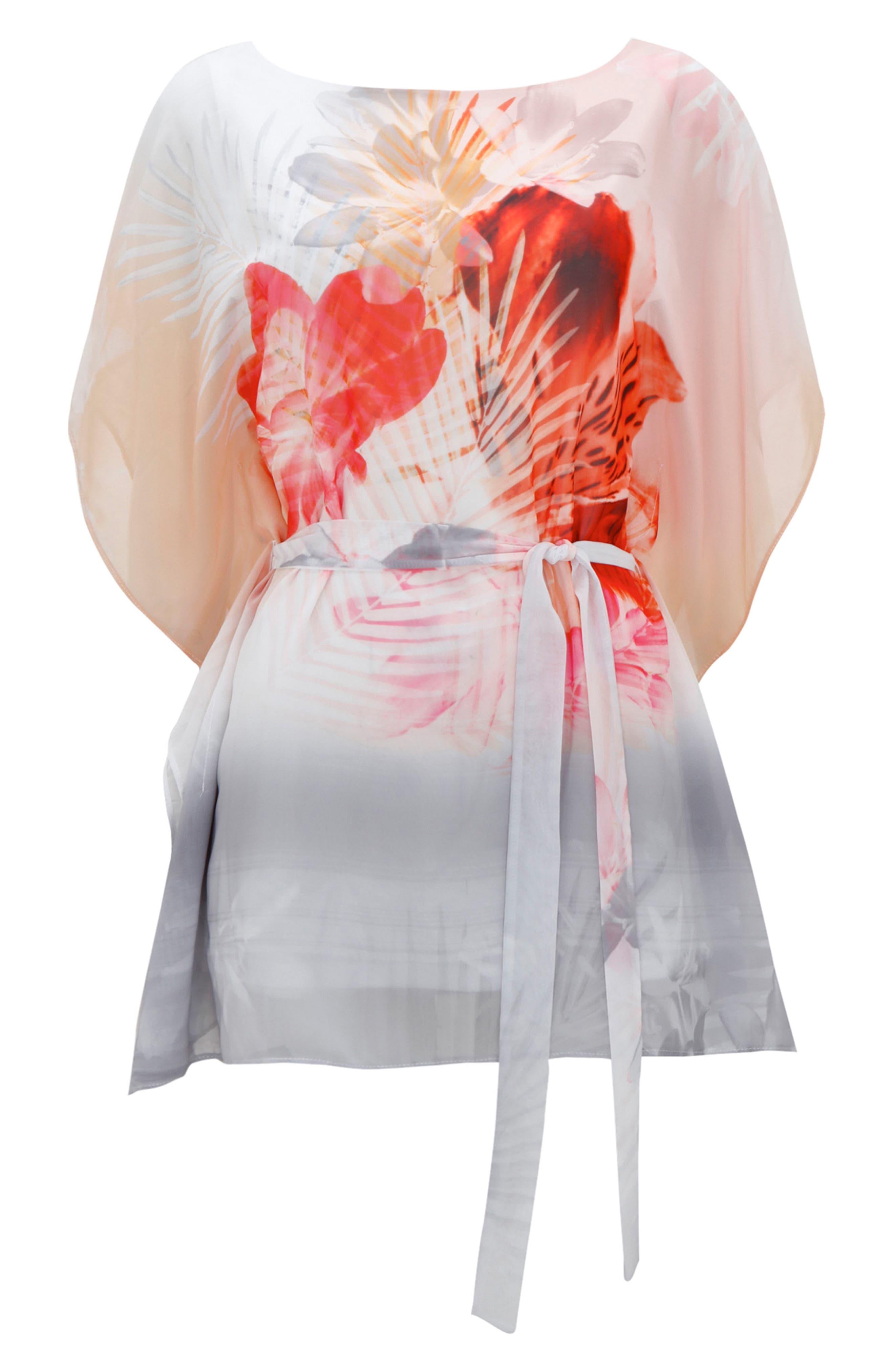Palm Sunrise Slit Sleeve Belted Top,                             Alternate thumbnail 5, color,                             Blush