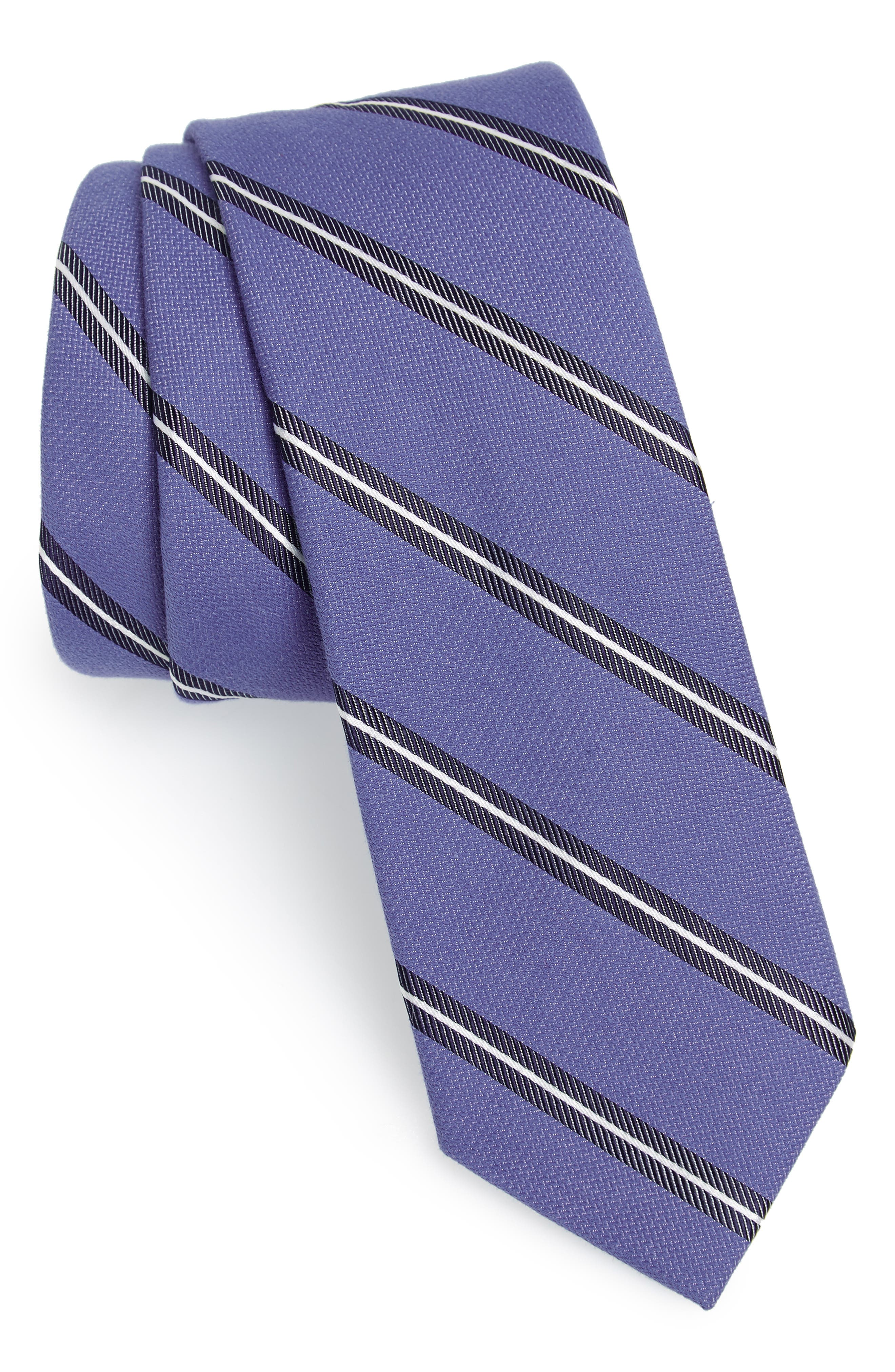 Edinger Stripe Silk & Cotton Tie,                             Main thumbnail 1, color,                             Blue