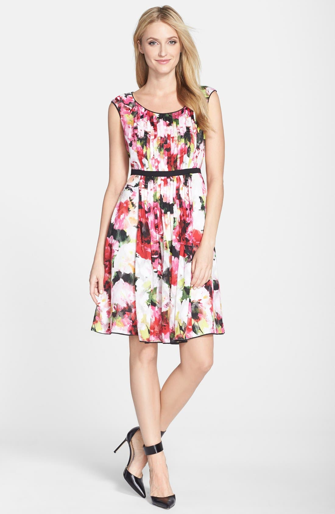 Alternate Image 3  - Adrianna Papell Floral Print Pleated Fit & Flare Dress