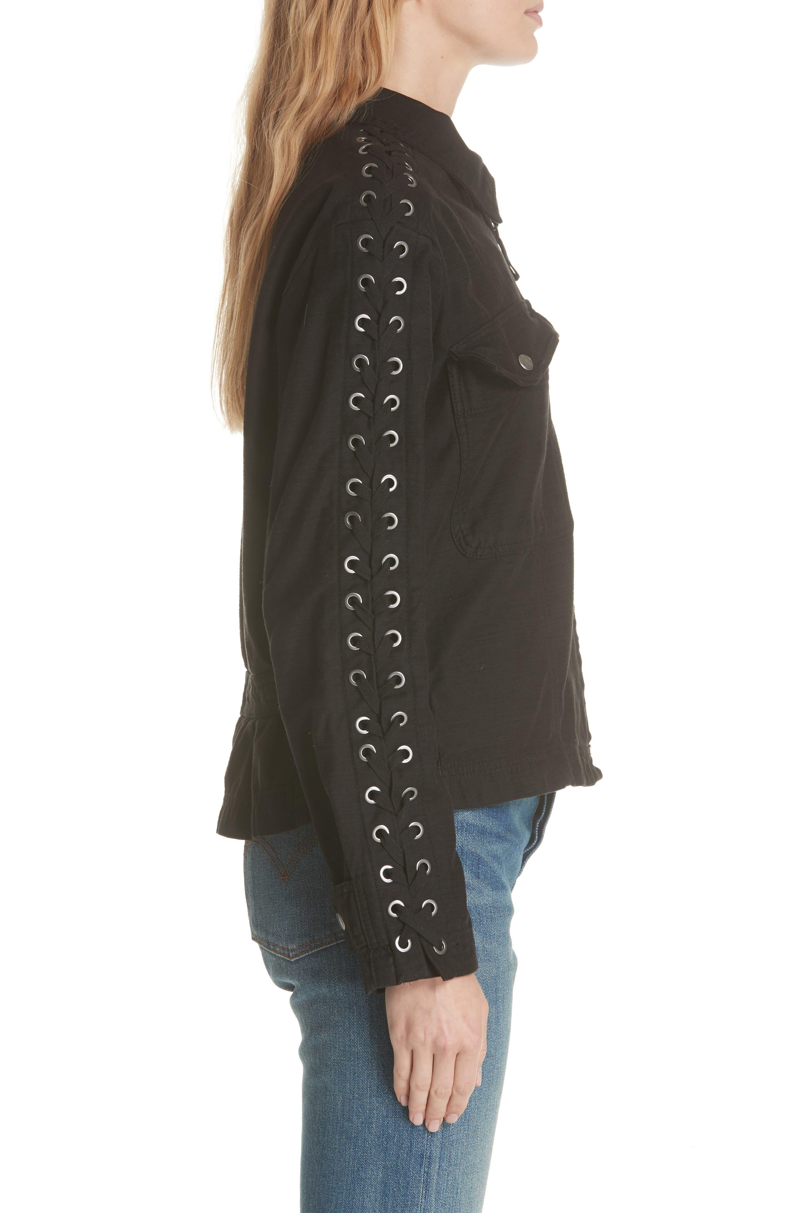 Faye Military Jacket,                             Alternate thumbnail 3, color,                             Black