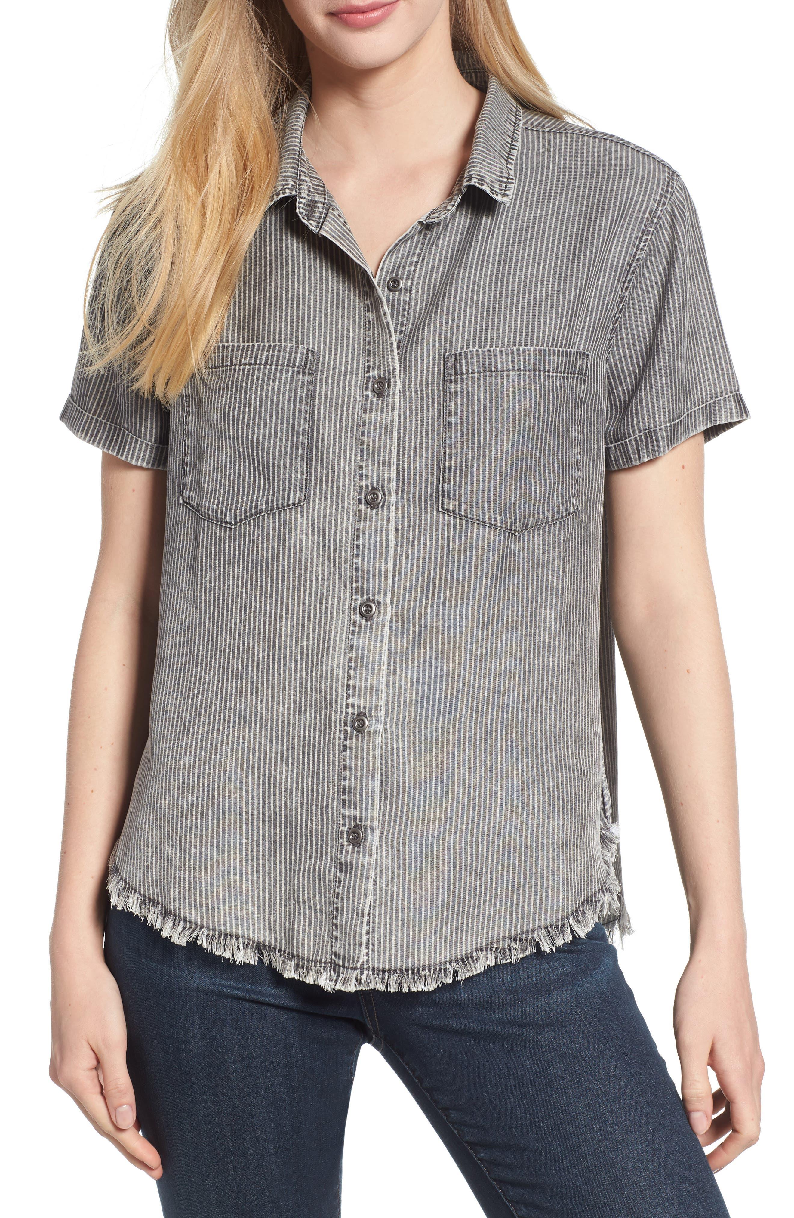 Ticking Stripe Shirt,                         Main,                         color, Grey Rr