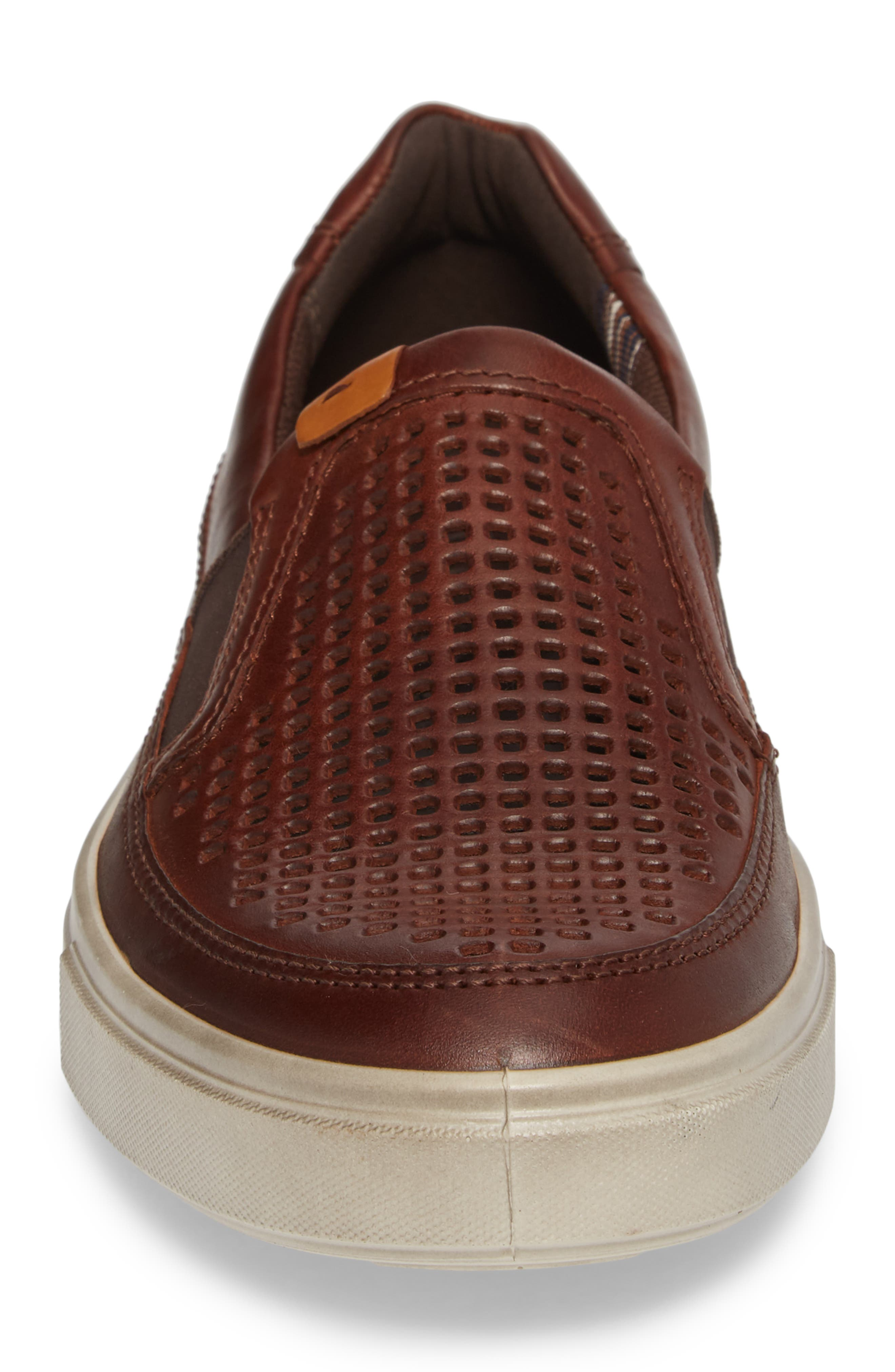Kyle Perforated Slip-On Sneaker,                             Alternate thumbnail 4, color,                             Cognac Leather
