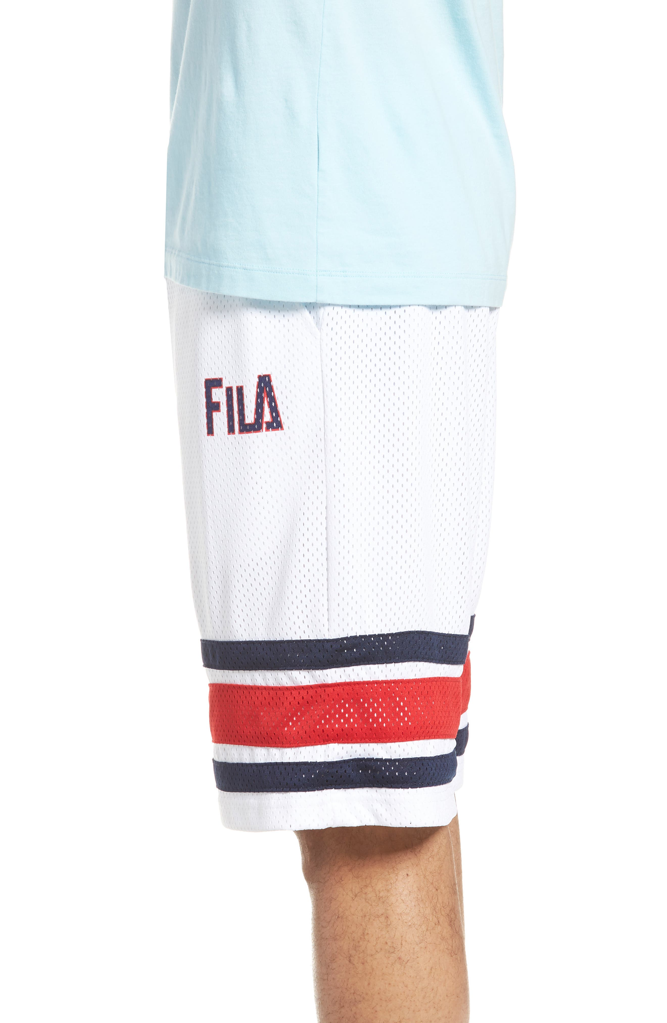 Parker Basketball Shorts,                             Alternate thumbnail 3, color,                             White/ Peacoat/ Chinese Red