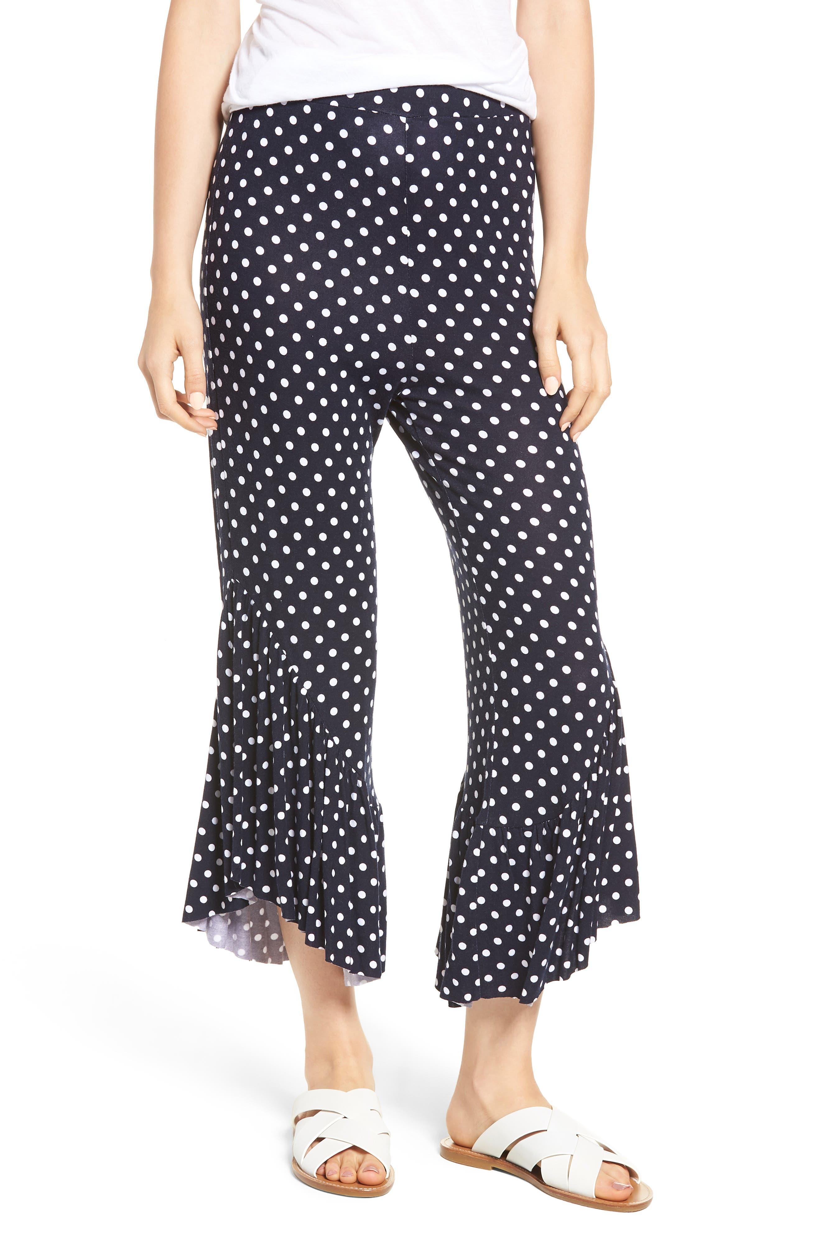 Ruffle Hem Wide Leg Crop Pants,                         Main,                         color, Navy/ White Polka Dot