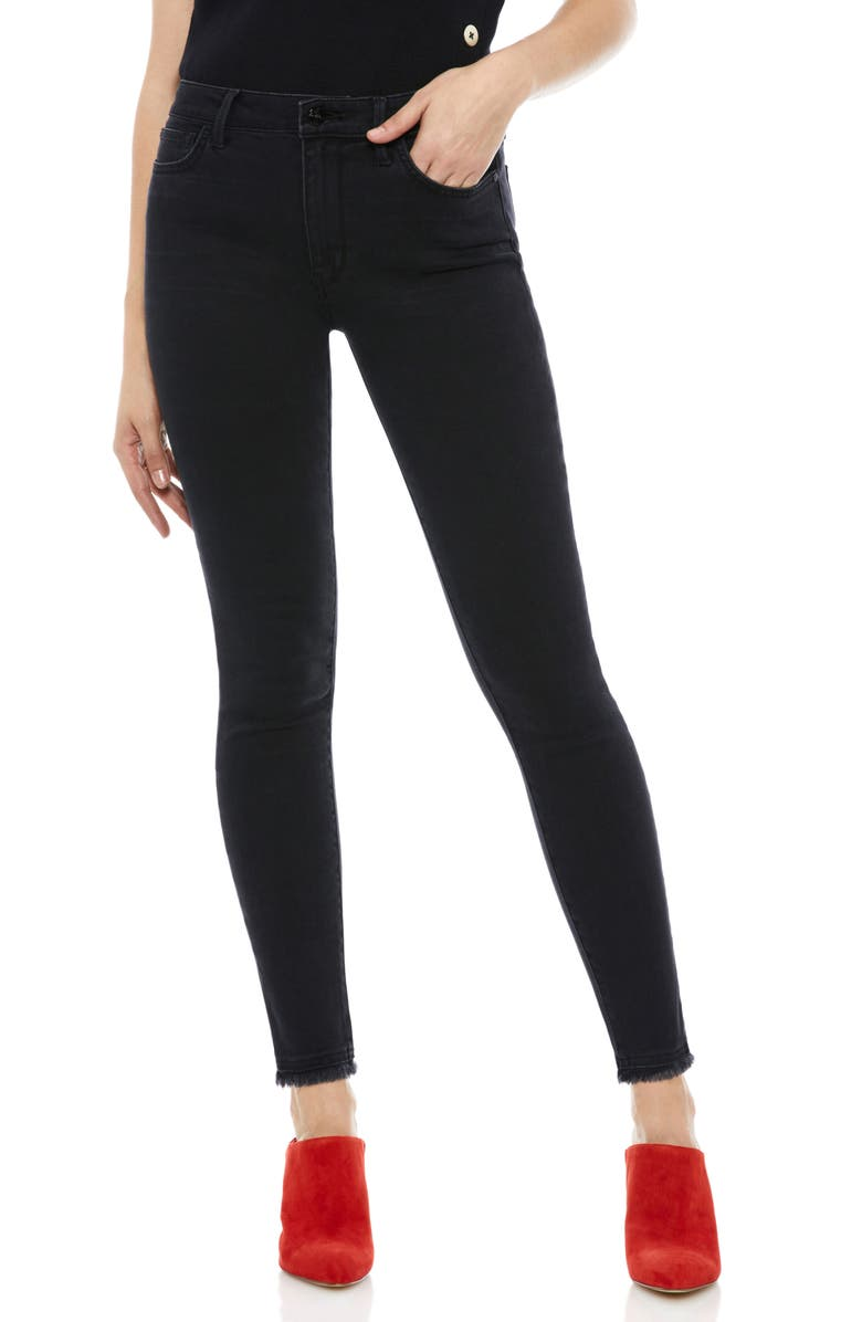 The Stiletto Frayed High Rise Ankle Skinny Jeans