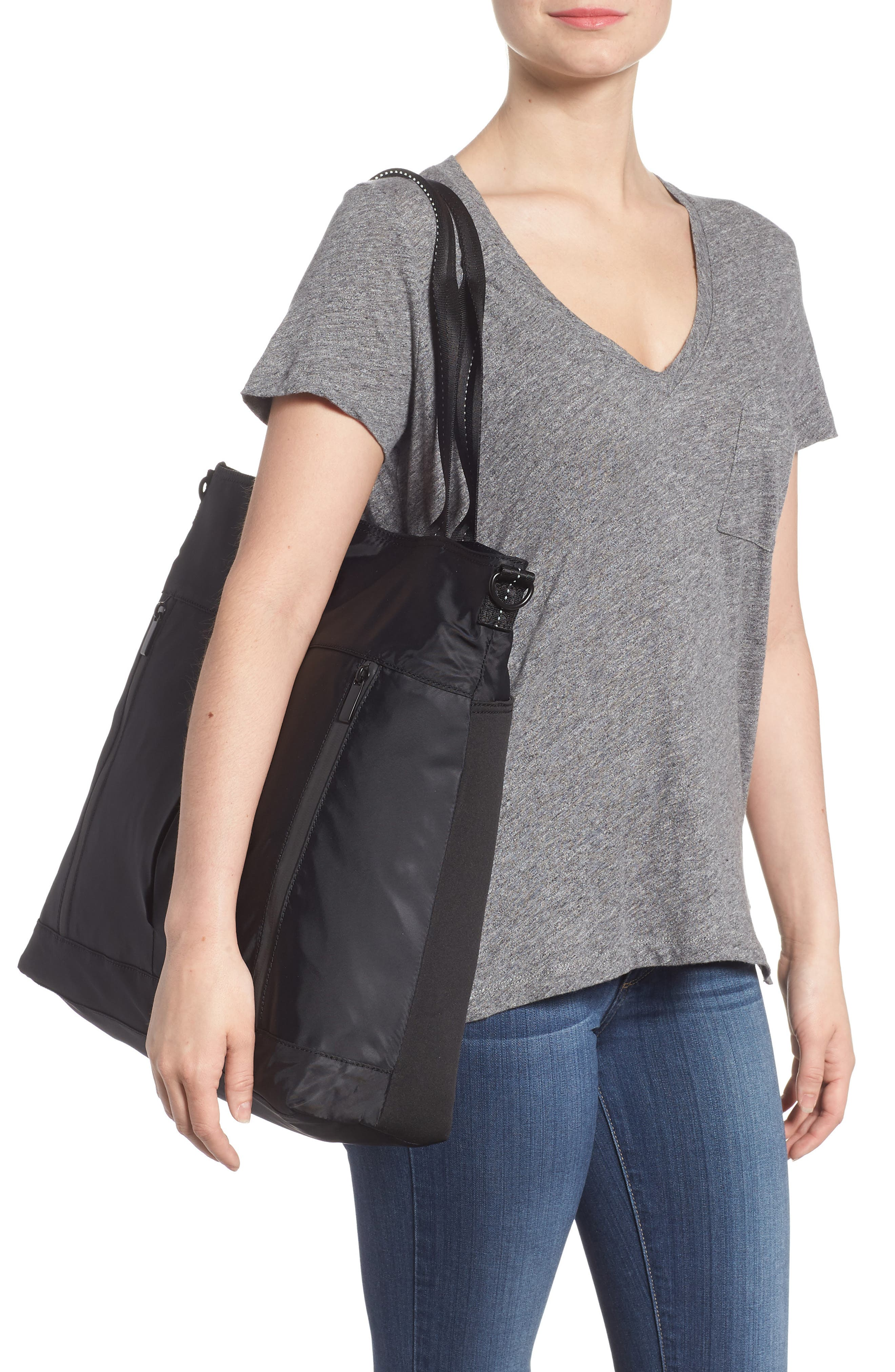 Reflective Nylon Tote Bag,                             Alternate thumbnail 2, color,                             Black