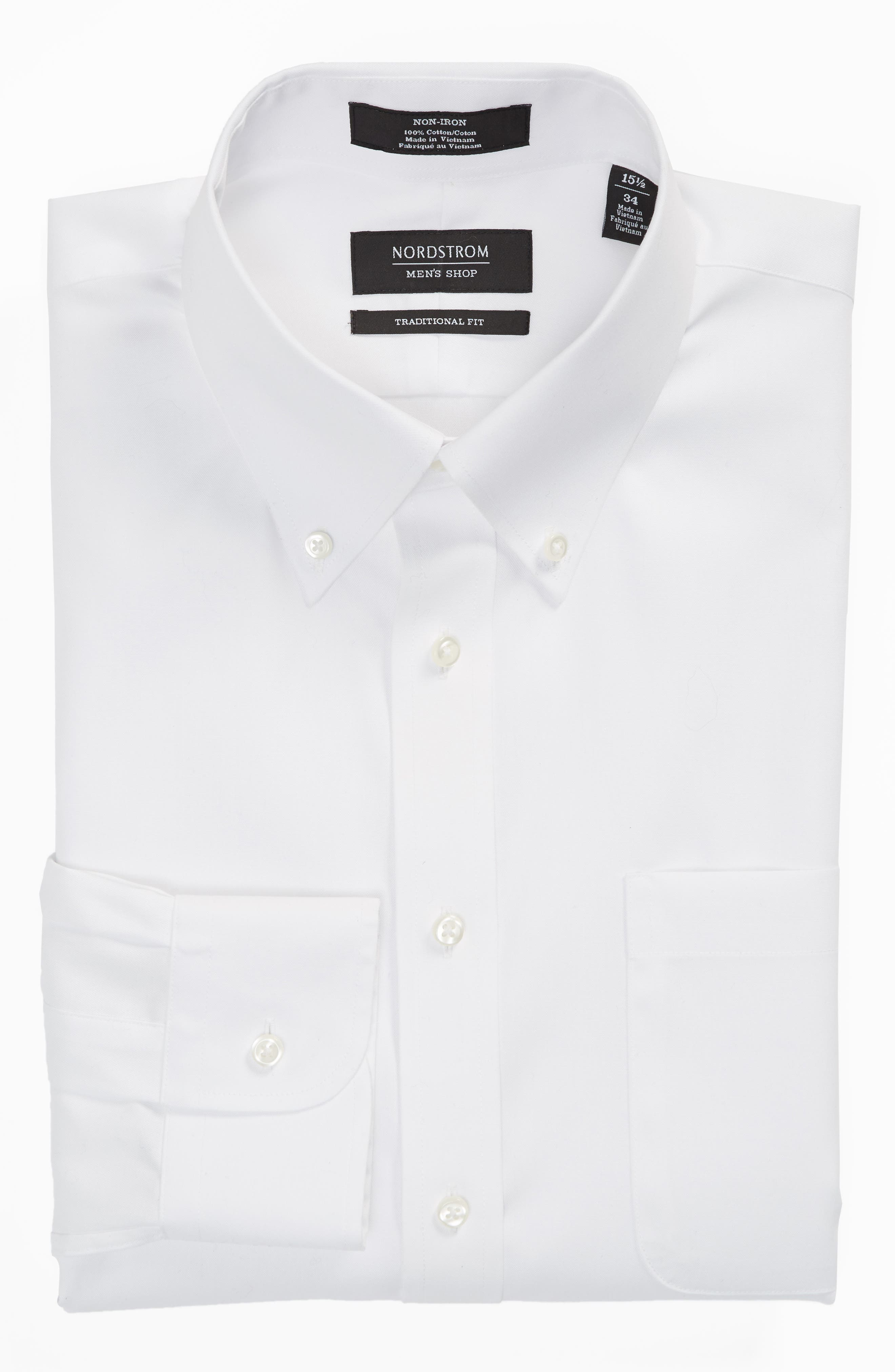Traditional Fit Non-Iron Solid Dress Shirt,                             Alternate thumbnail 5, color,                             White