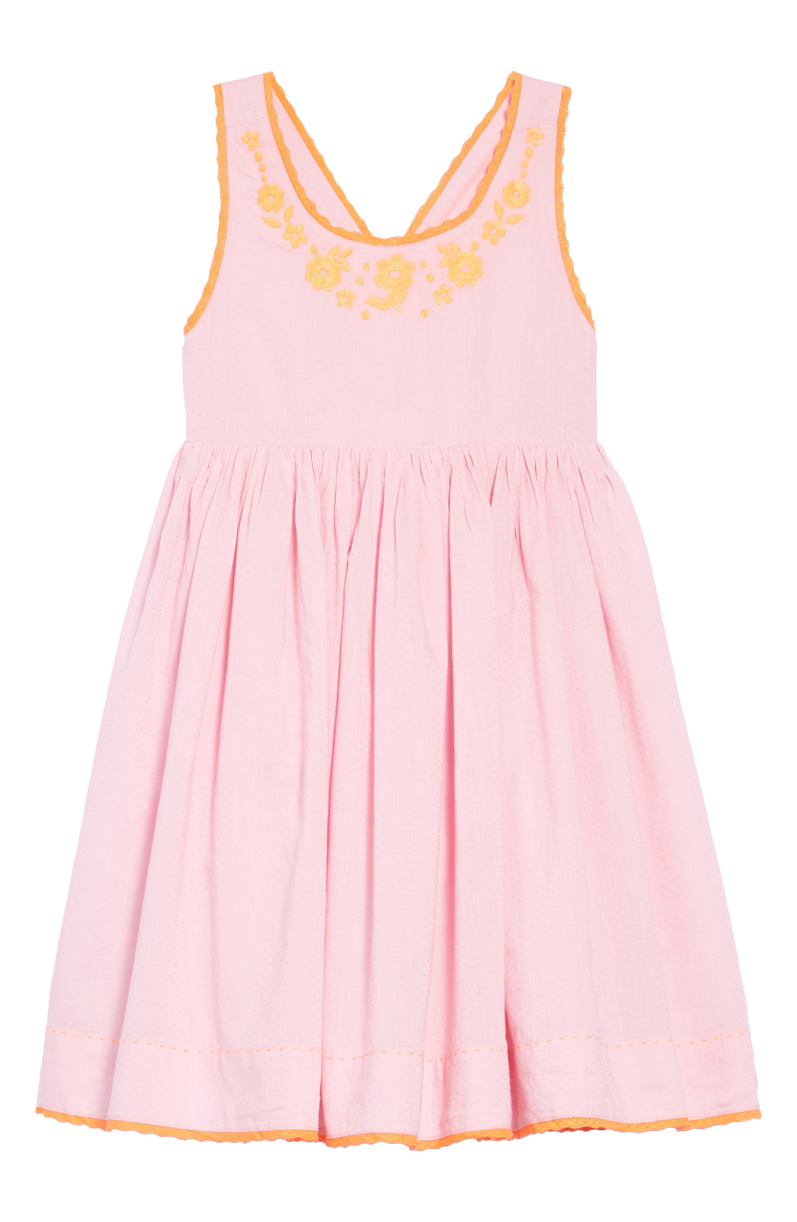 Woven Embroidered Dress,                         Main,                         color, Rosebud Pink