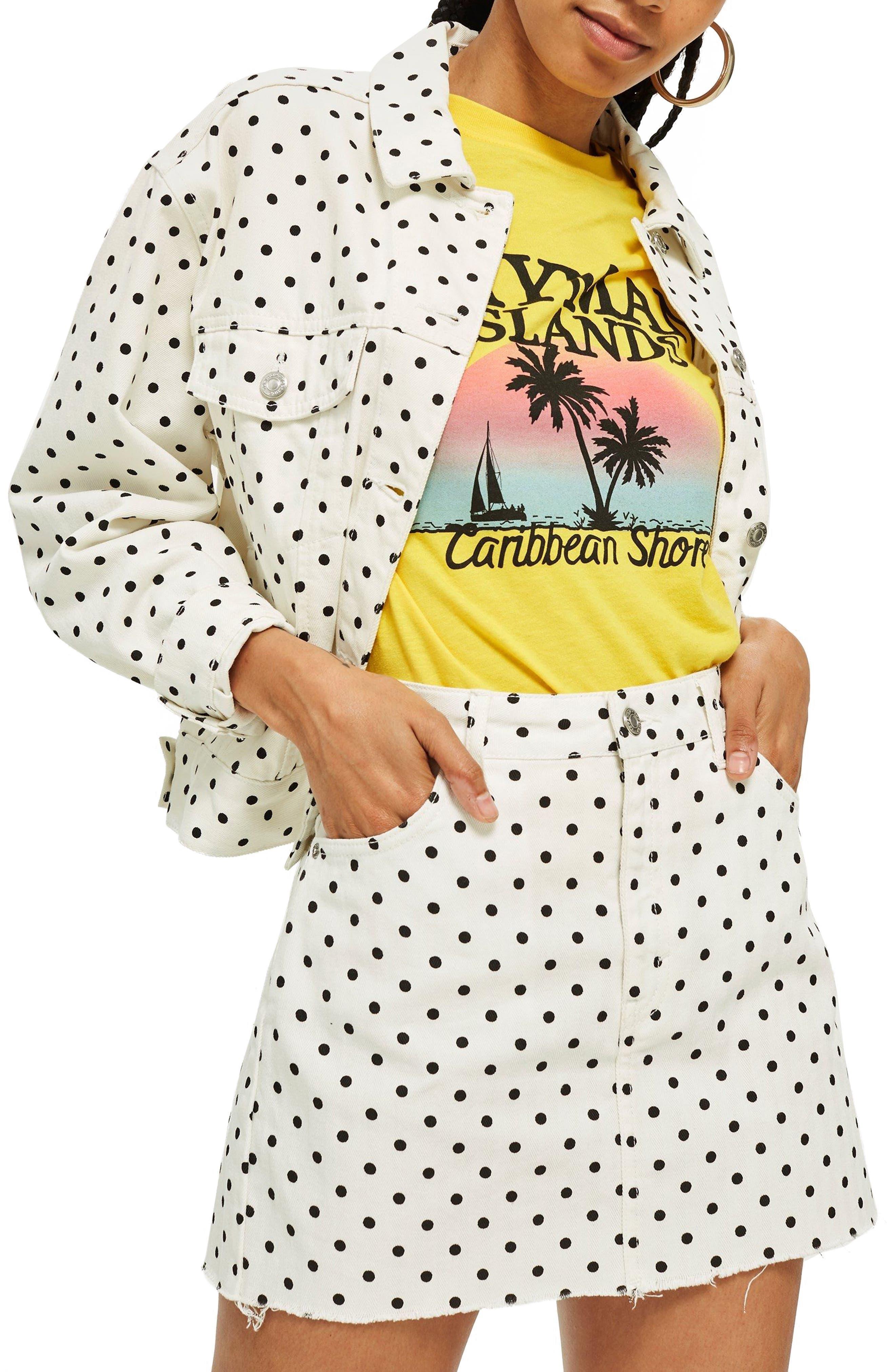 MOTO Polka Dot Crop Nonstretch Denim Jacket,                         Main,                         color, White Multi