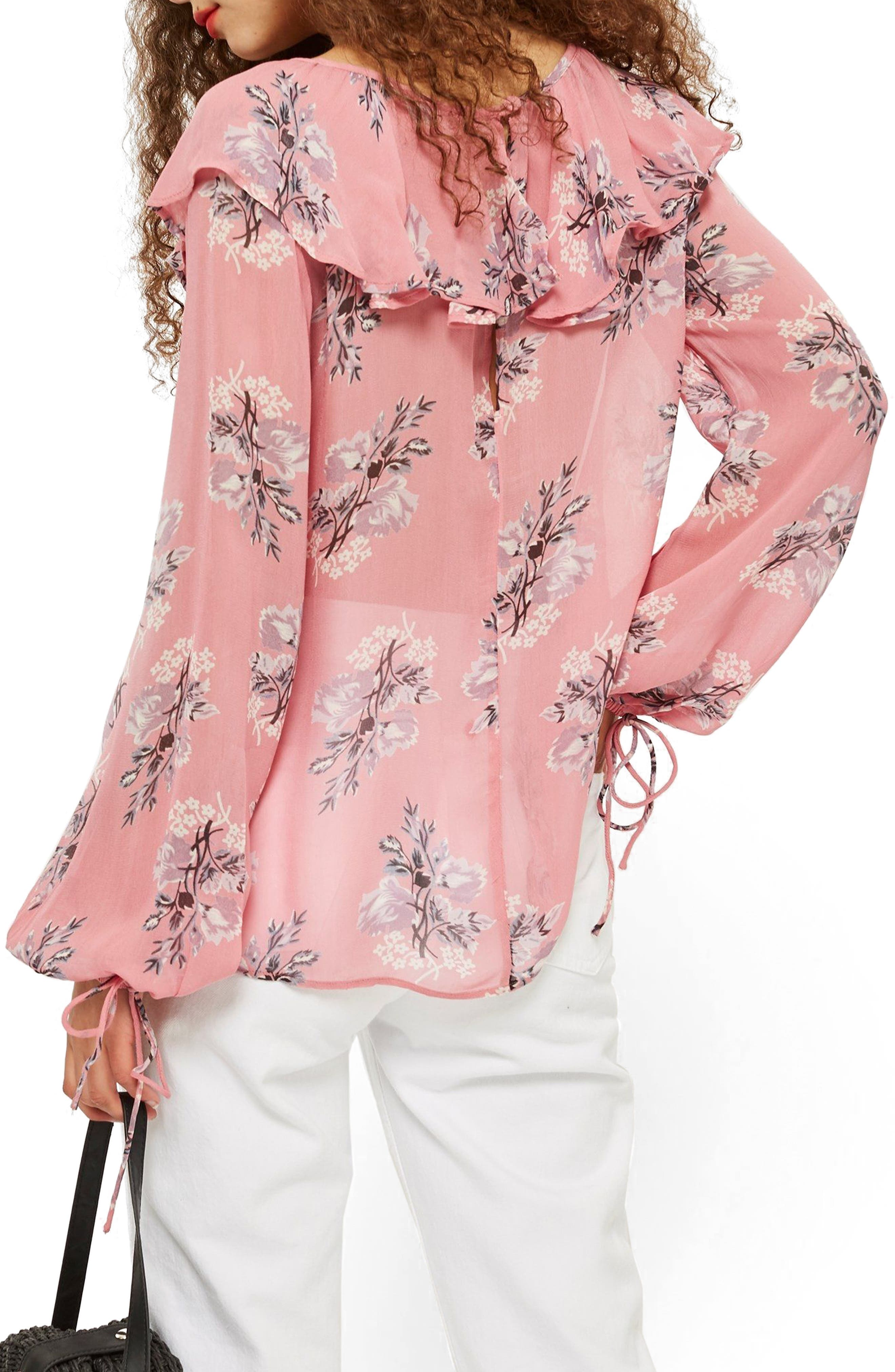 Floral Ruffle Pompom Blouse,                             Alternate thumbnail 2, color,                             Pink Multi