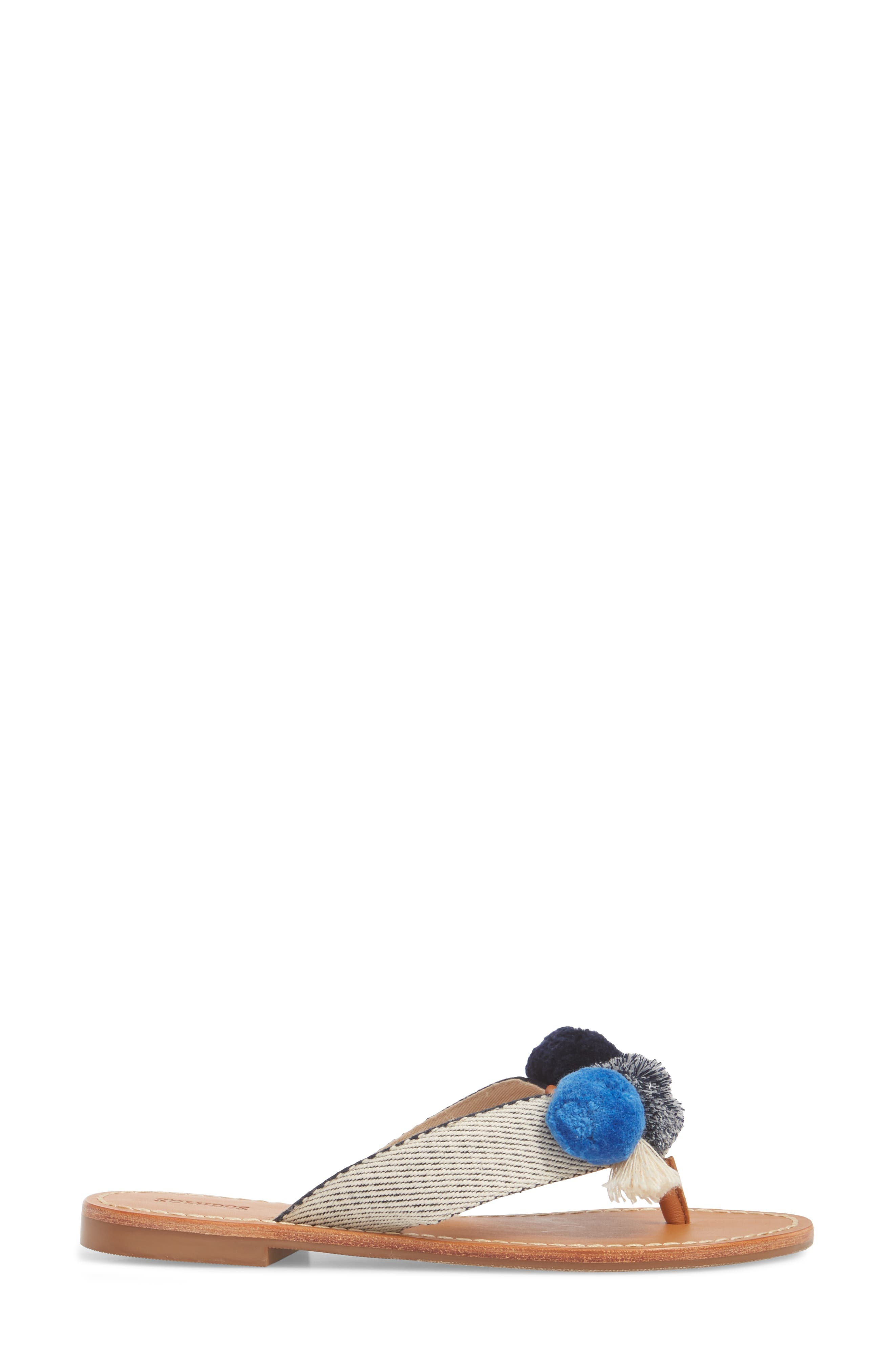 Capri Pompom Flip Flop,                             Alternate thumbnail 3, color,                             Navy/ Natural