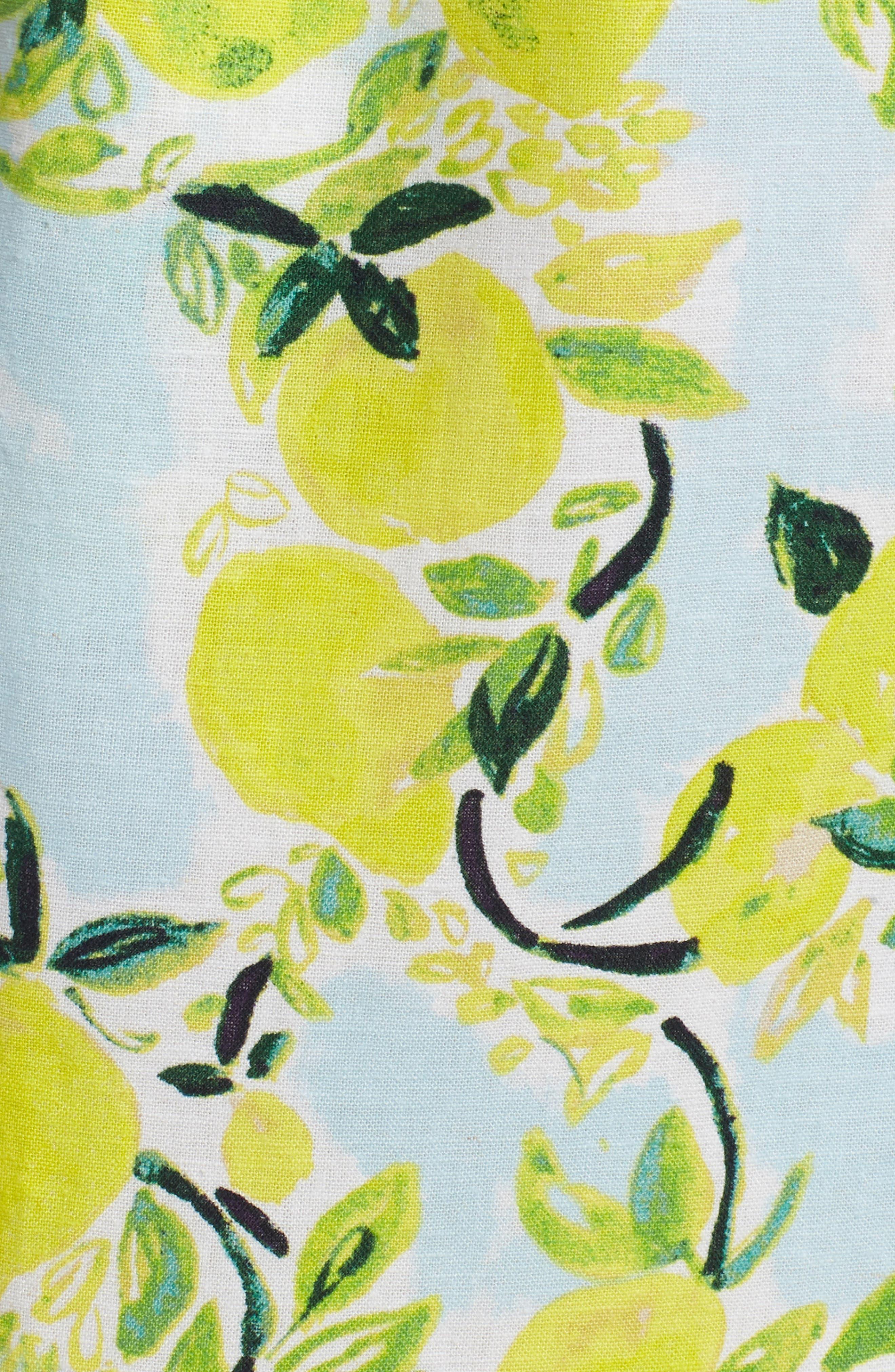 Tie Front Lemon Print Mini Dress,                             Alternate thumbnail 6, color,                             Blue- Yellow Citrus Print