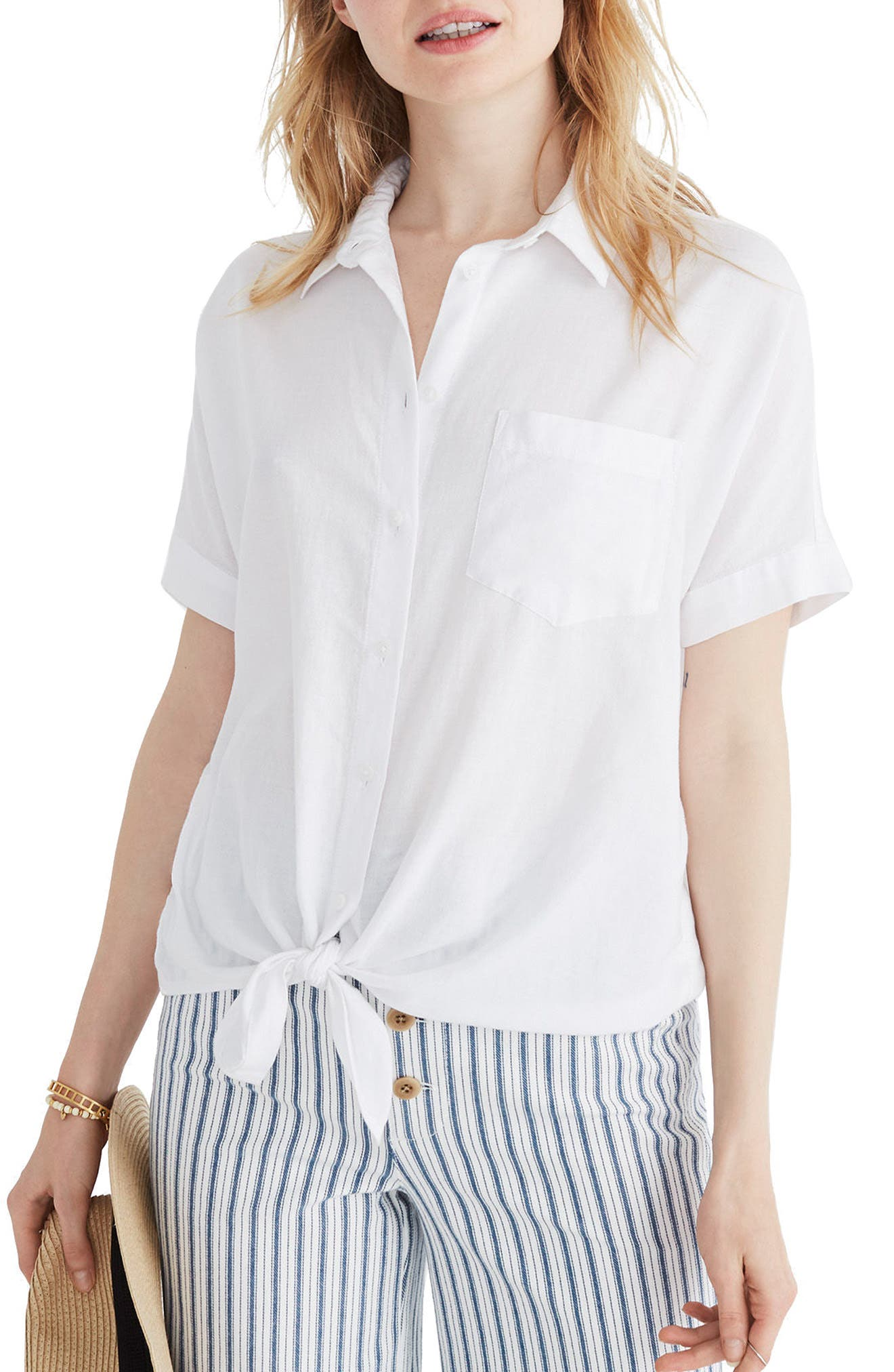 Short Sleeve Tie Front Shirt,                         Main,                         color, Eyelet White