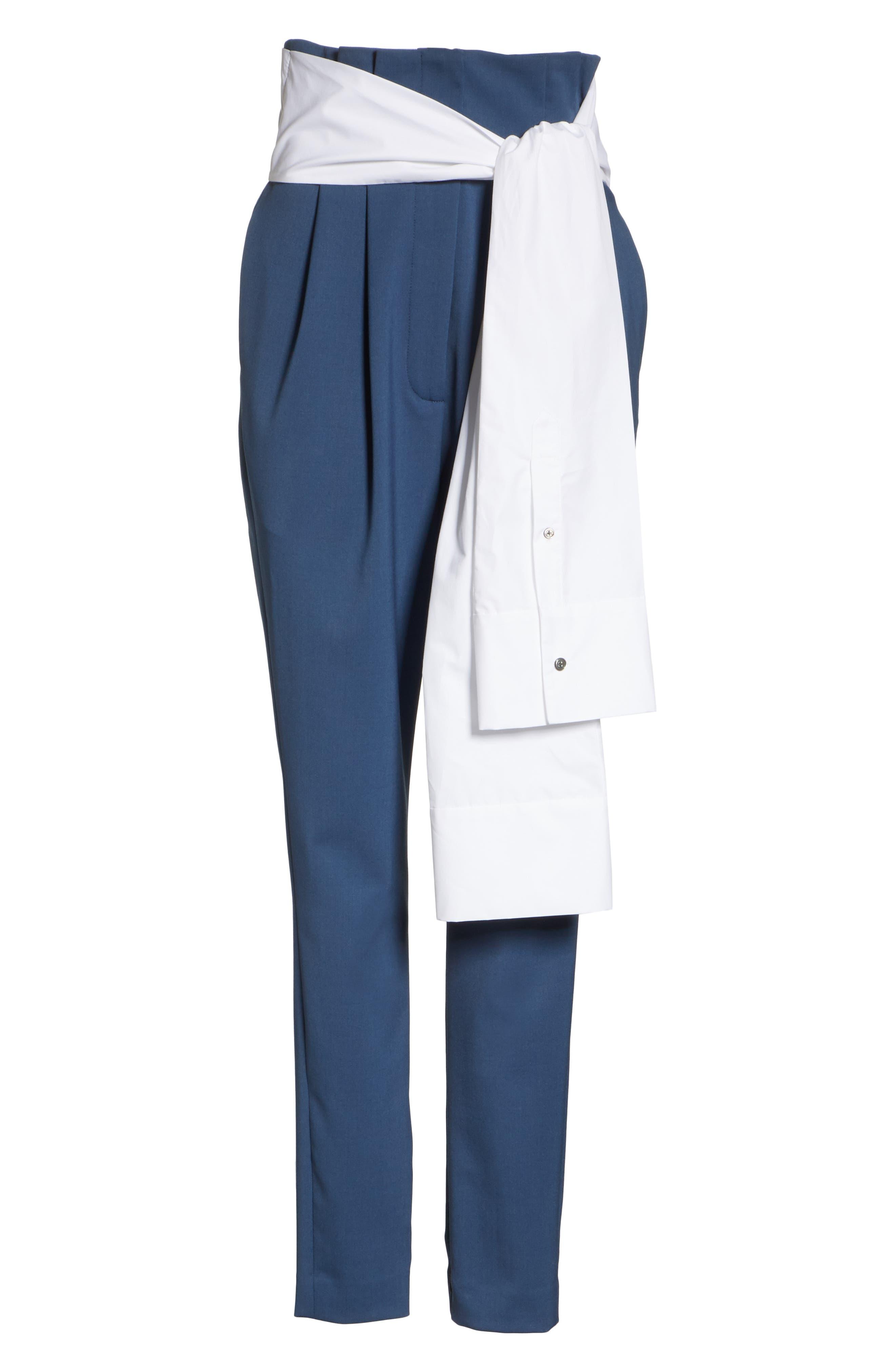 Tie Waist Paperbag Pants,                             Alternate thumbnail 6, color,                             Blue