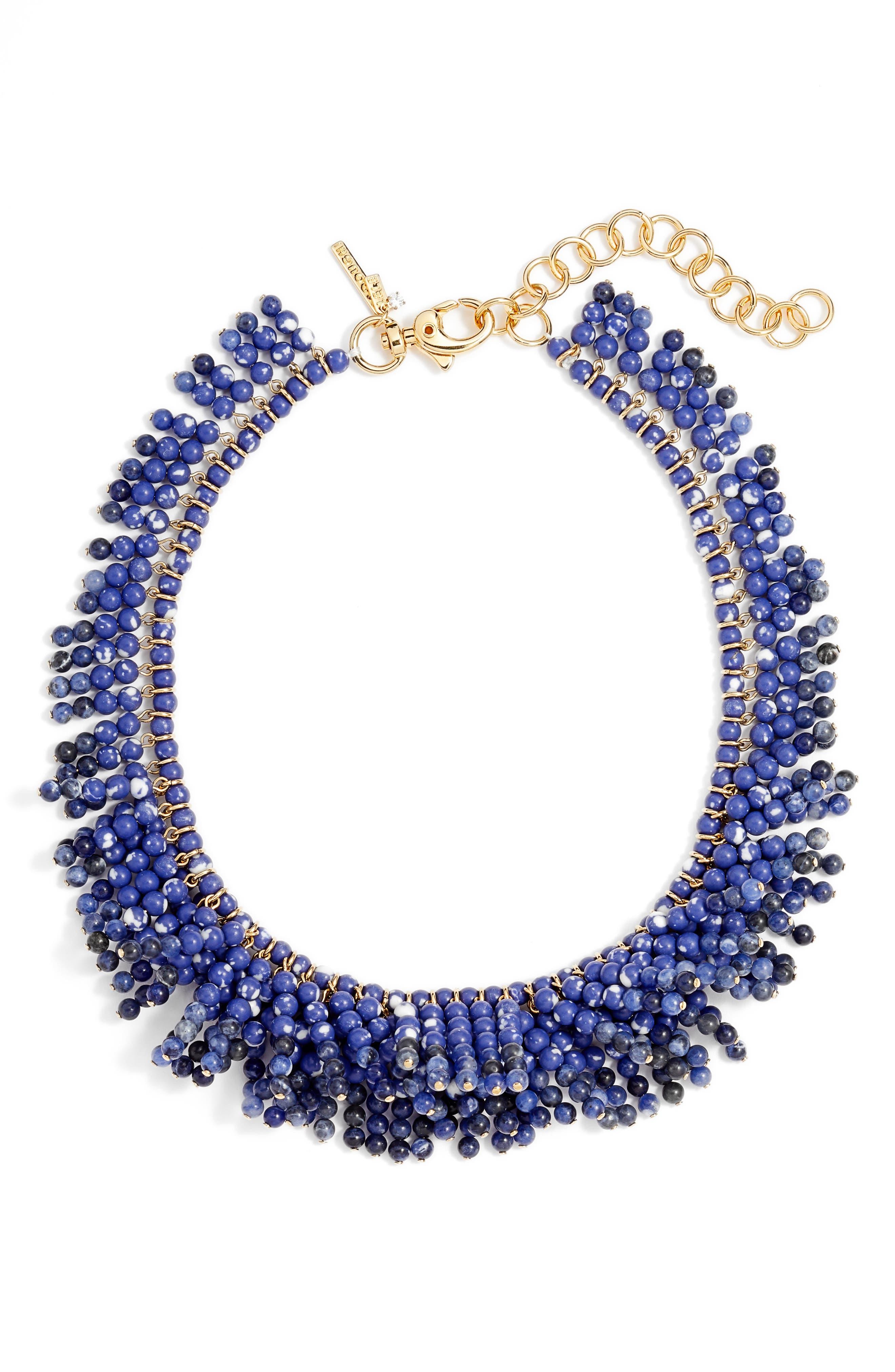 Shaggy Stone Bib Necklace,                         Main,                         color, Cobalt