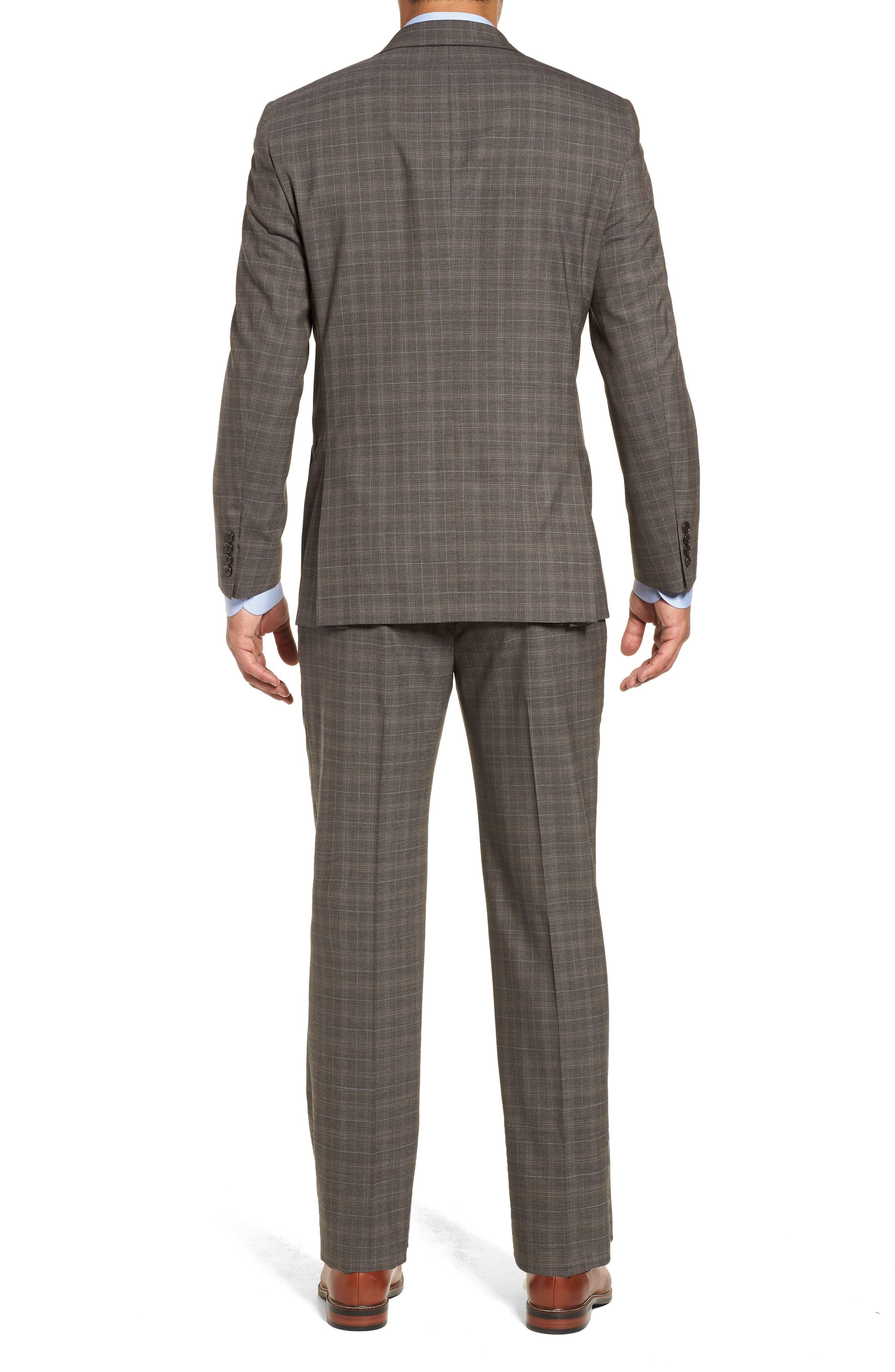 Classic Fit Plaid Stretch Wool Suit,                             Alternate thumbnail 2, color,                             Brown