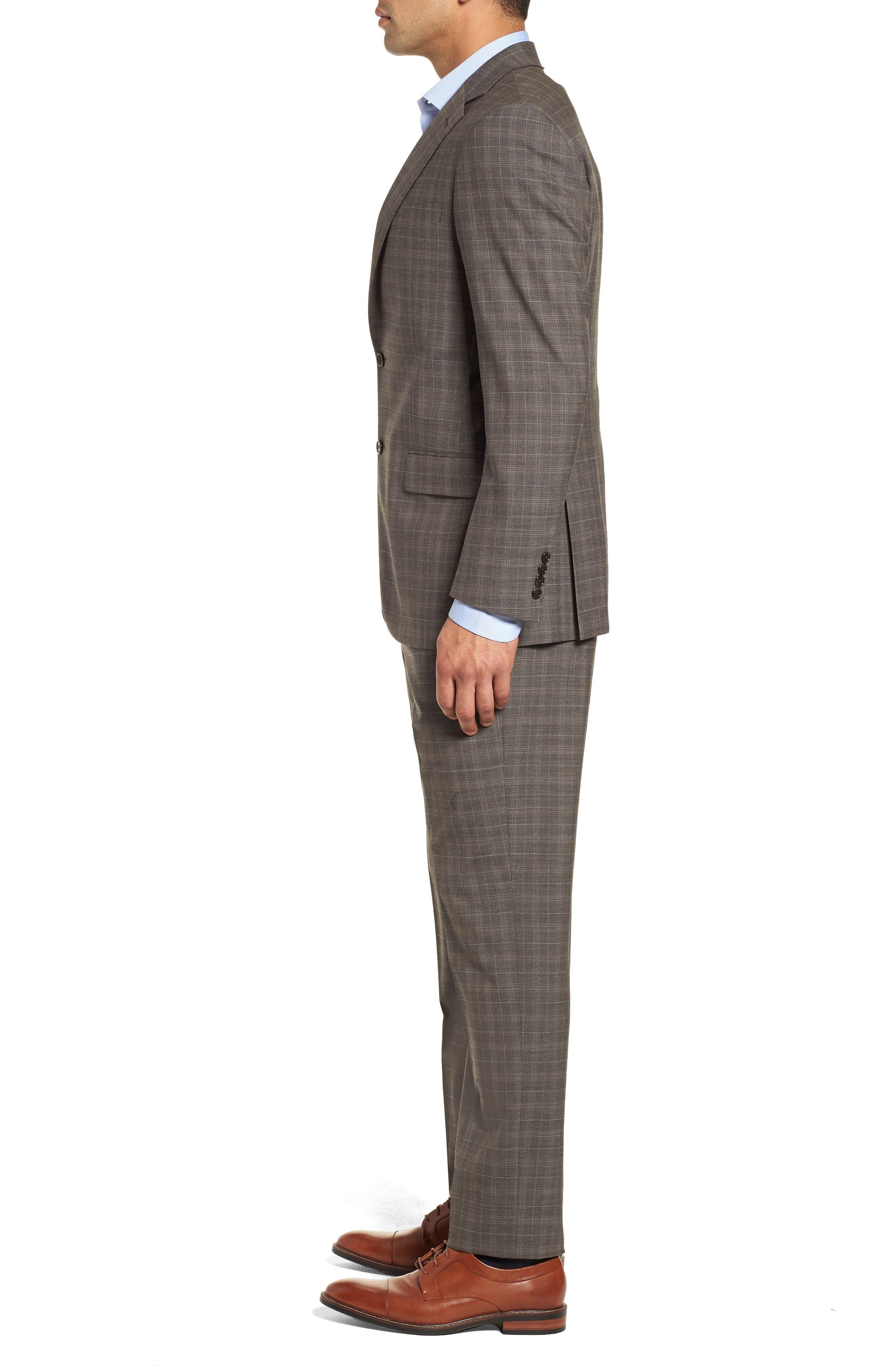 Classic Fit Plaid Stretch Wool Suit,                             Alternate thumbnail 3, color,                             Brown