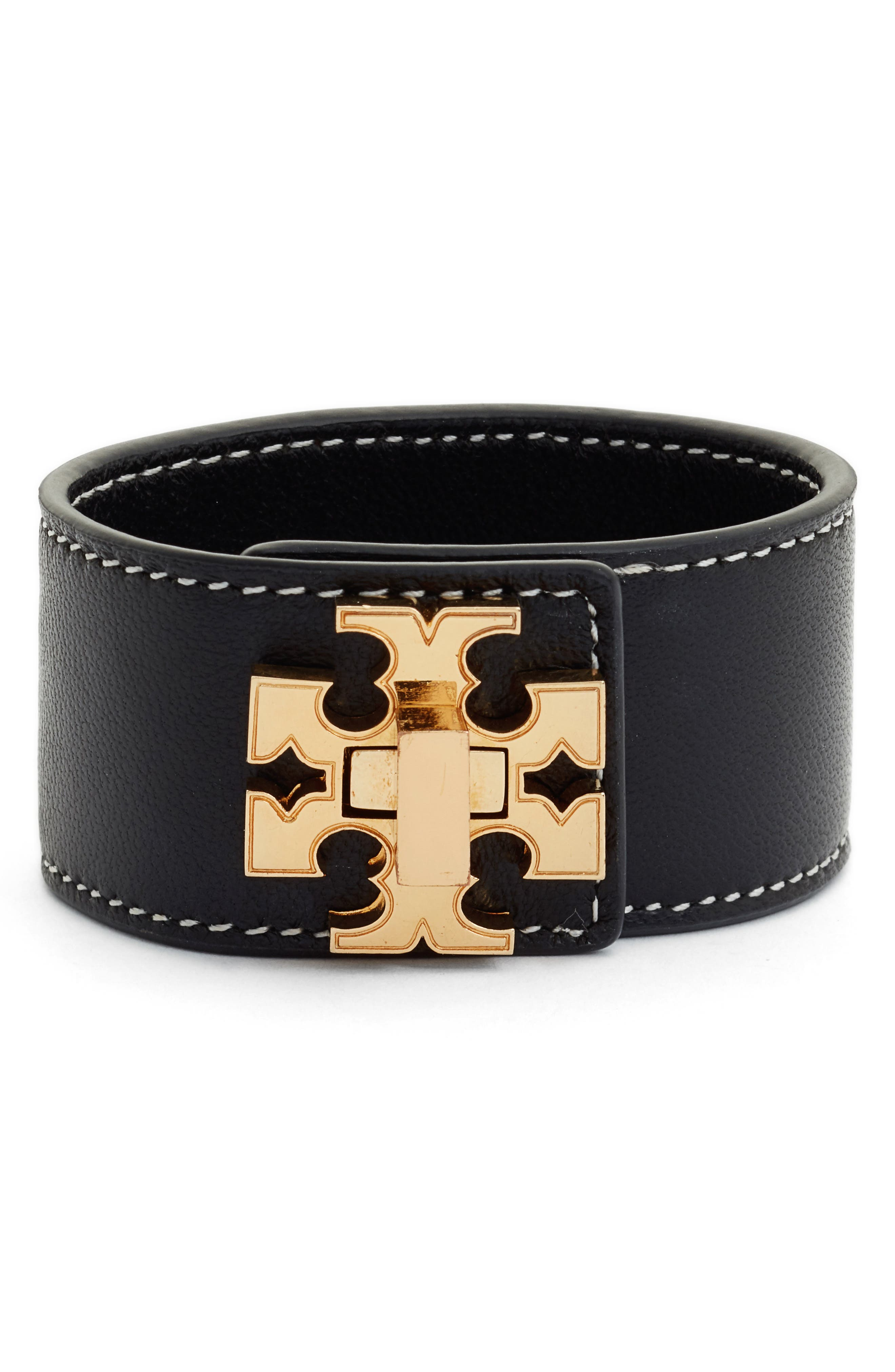 Logo Single Wrap Leather Bracelet,                             Main thumbnail 1, color,                             Black