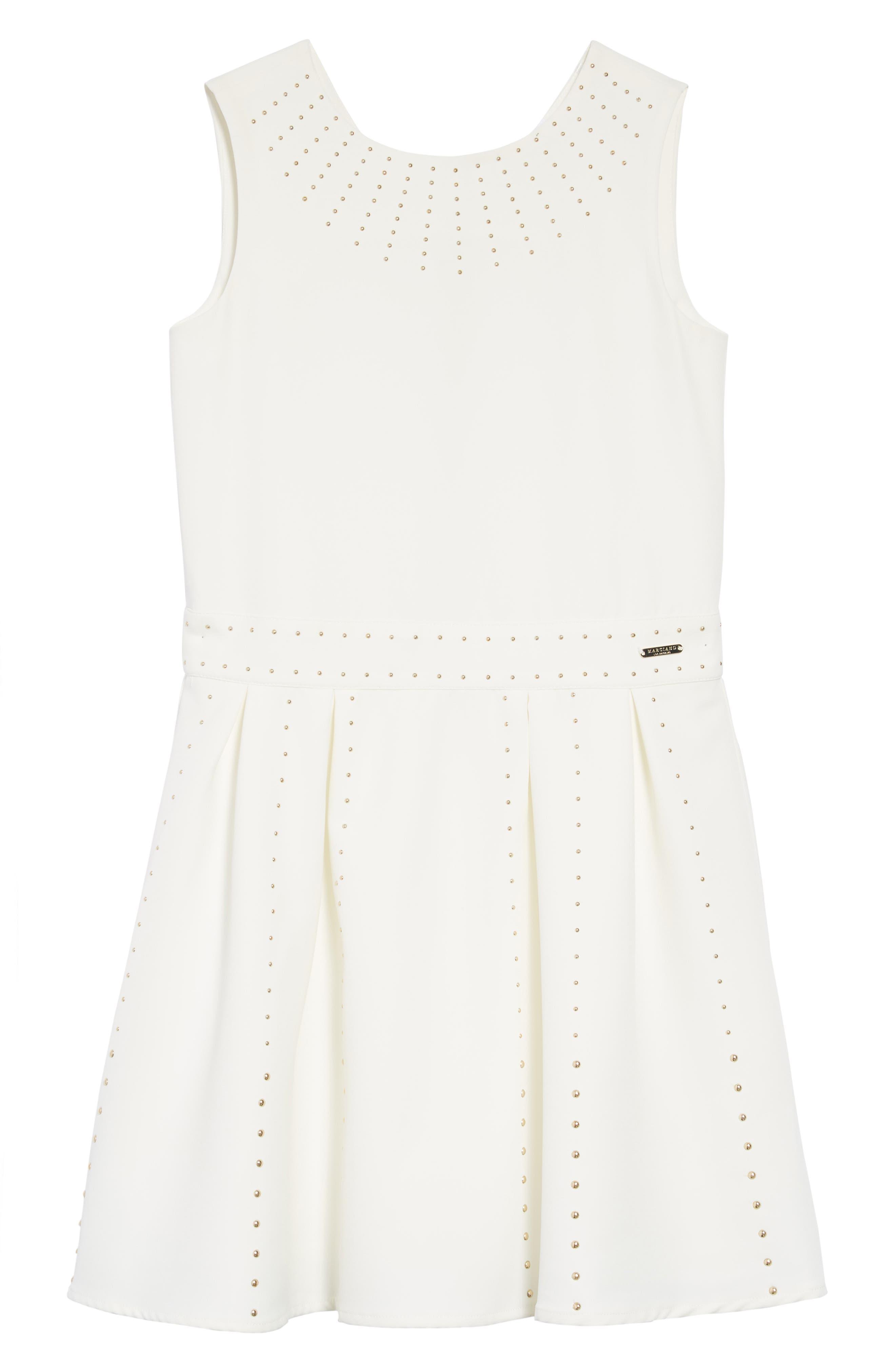 Studded Skater Dress,                             Main thumbnail 1, color,                             True White A000