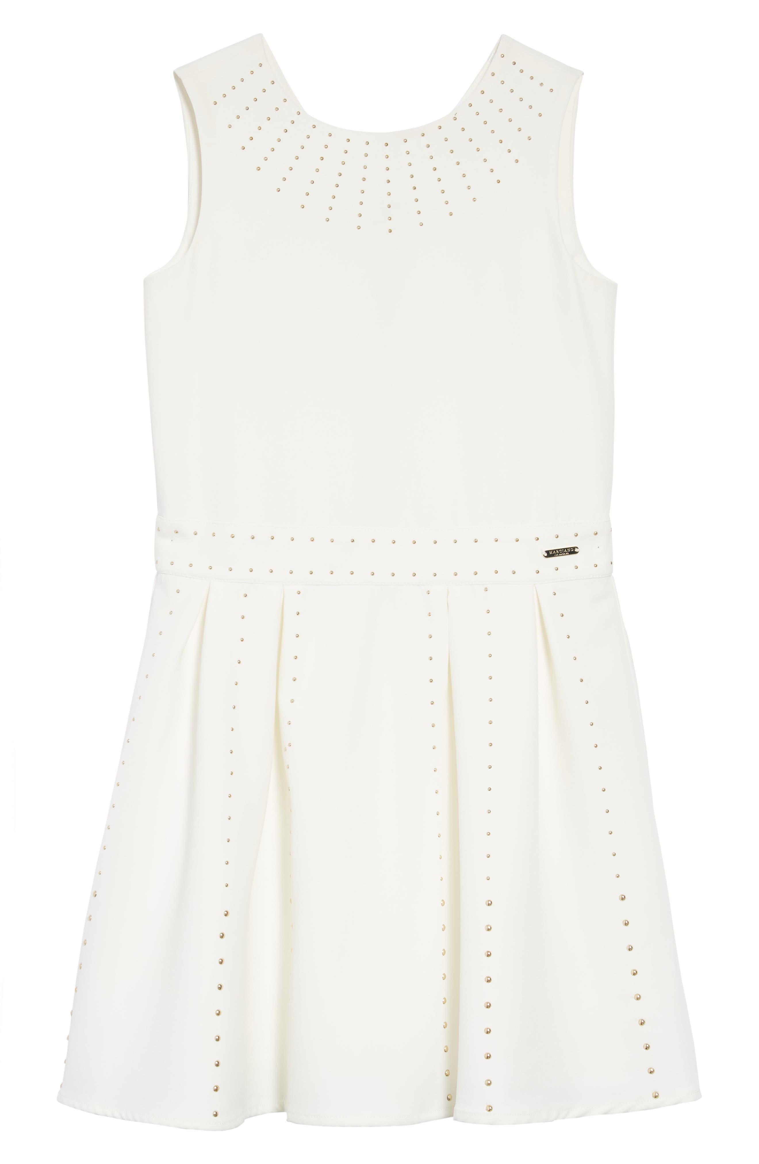 Studded Skater Dress,                         Main,                         color, True White A000
