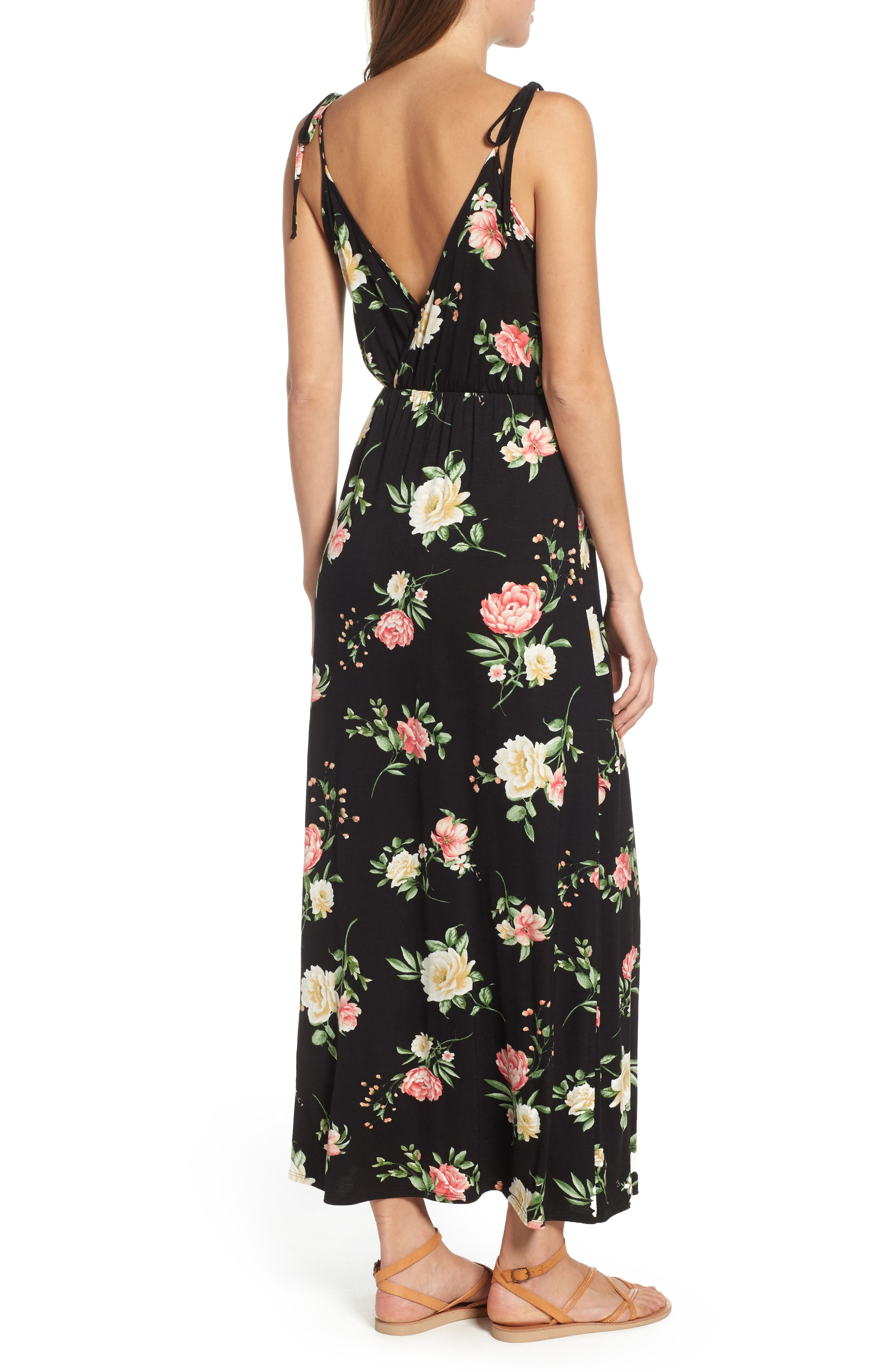 Faux Wrap Maxi Dress,                             Alternate thumbnail 2, color,                             Black/ Coral