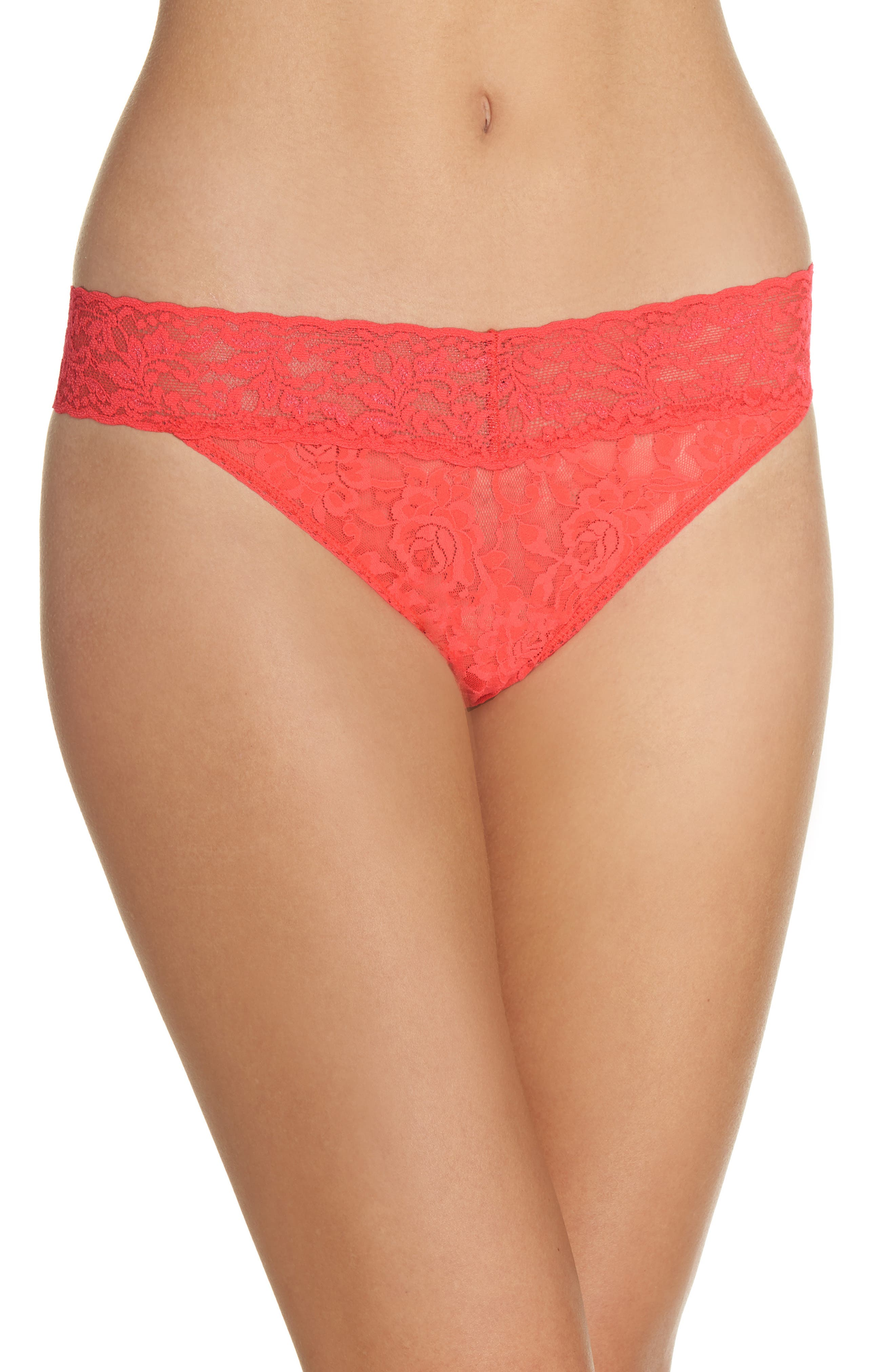 Regular Rise Lace Thong,                         Main,                         color, Coral Gables