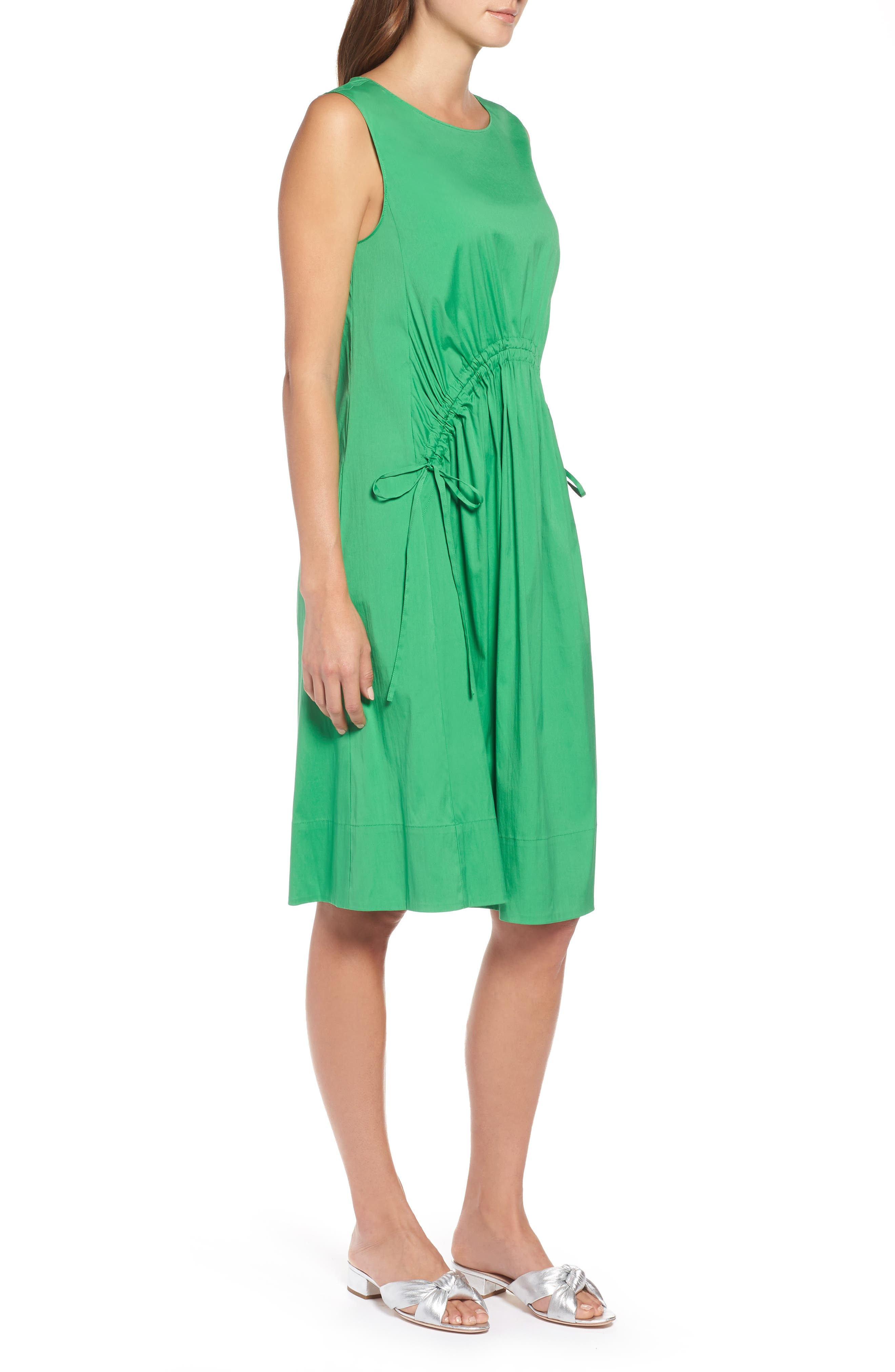 Drawcord Stretch Cotton Blend Dress,                             Alternate thumbnail 3, color,                             Green Kelly