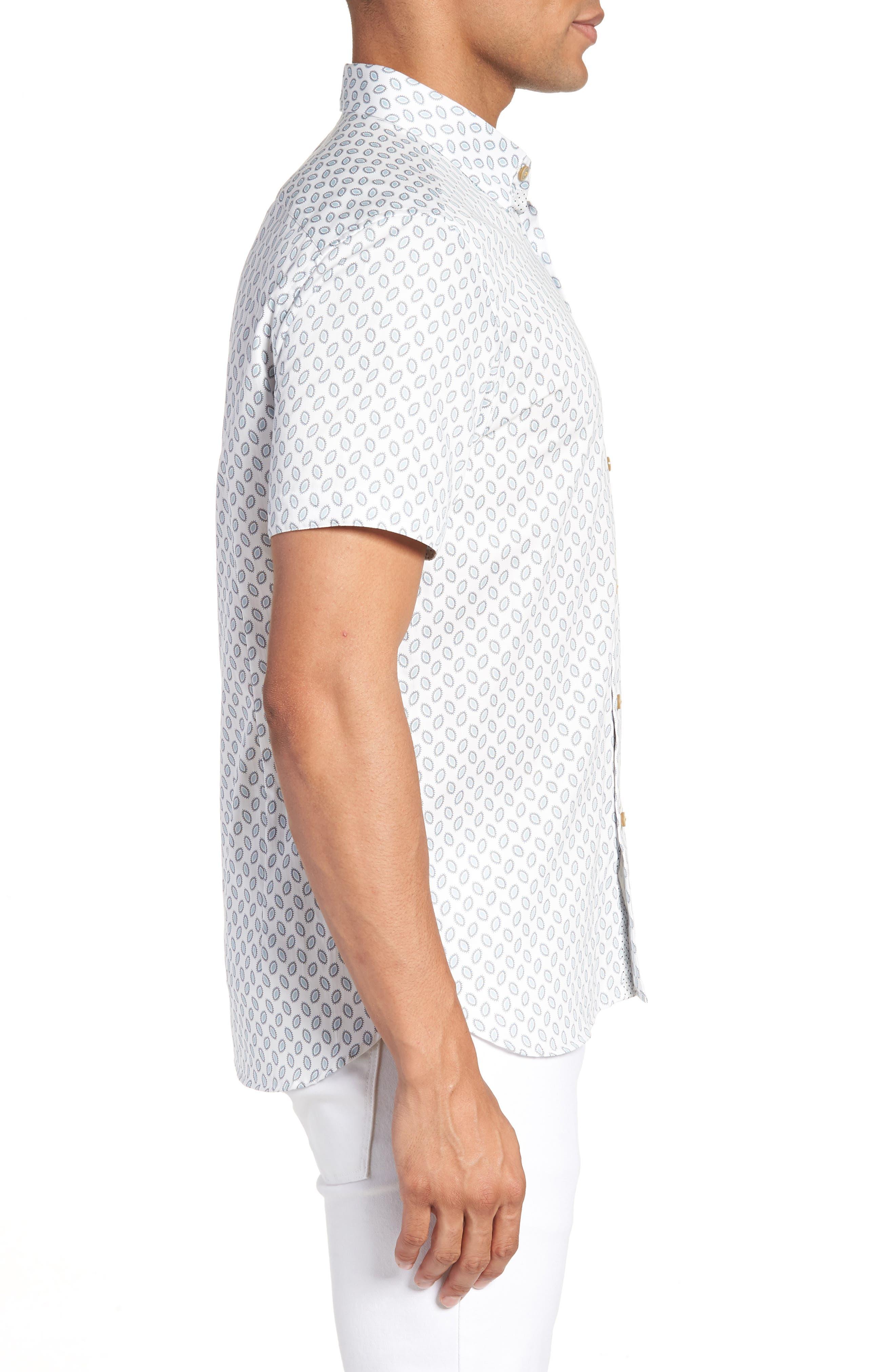 Newfone Trim Fit Chambray Sport Shirt,                             Alternate thumbnail 4, color,                             White