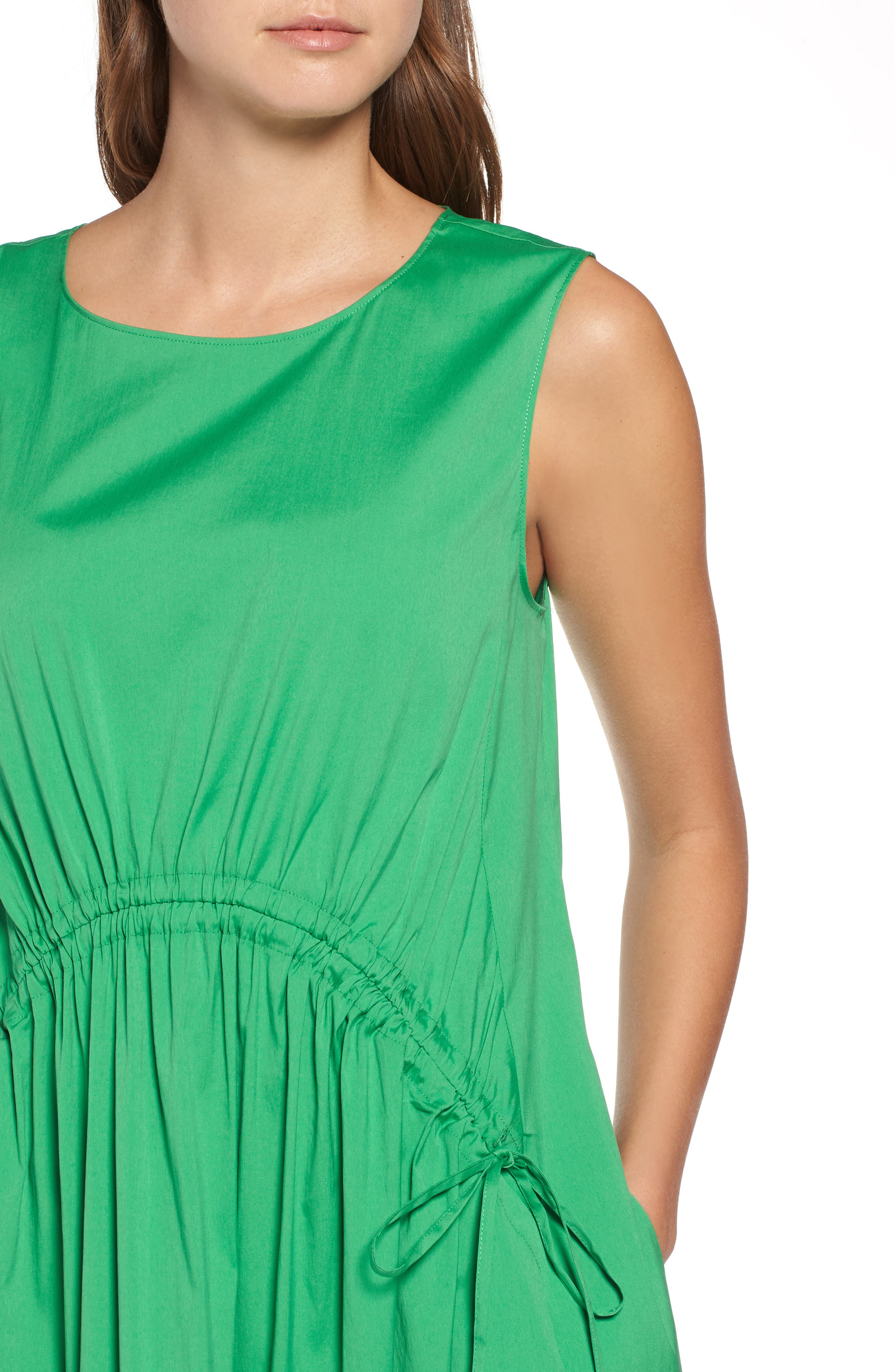 Drawcord Stretch Cotton Blend Dress,                             Alternate thumbnail 4, color,                             Green Kelly