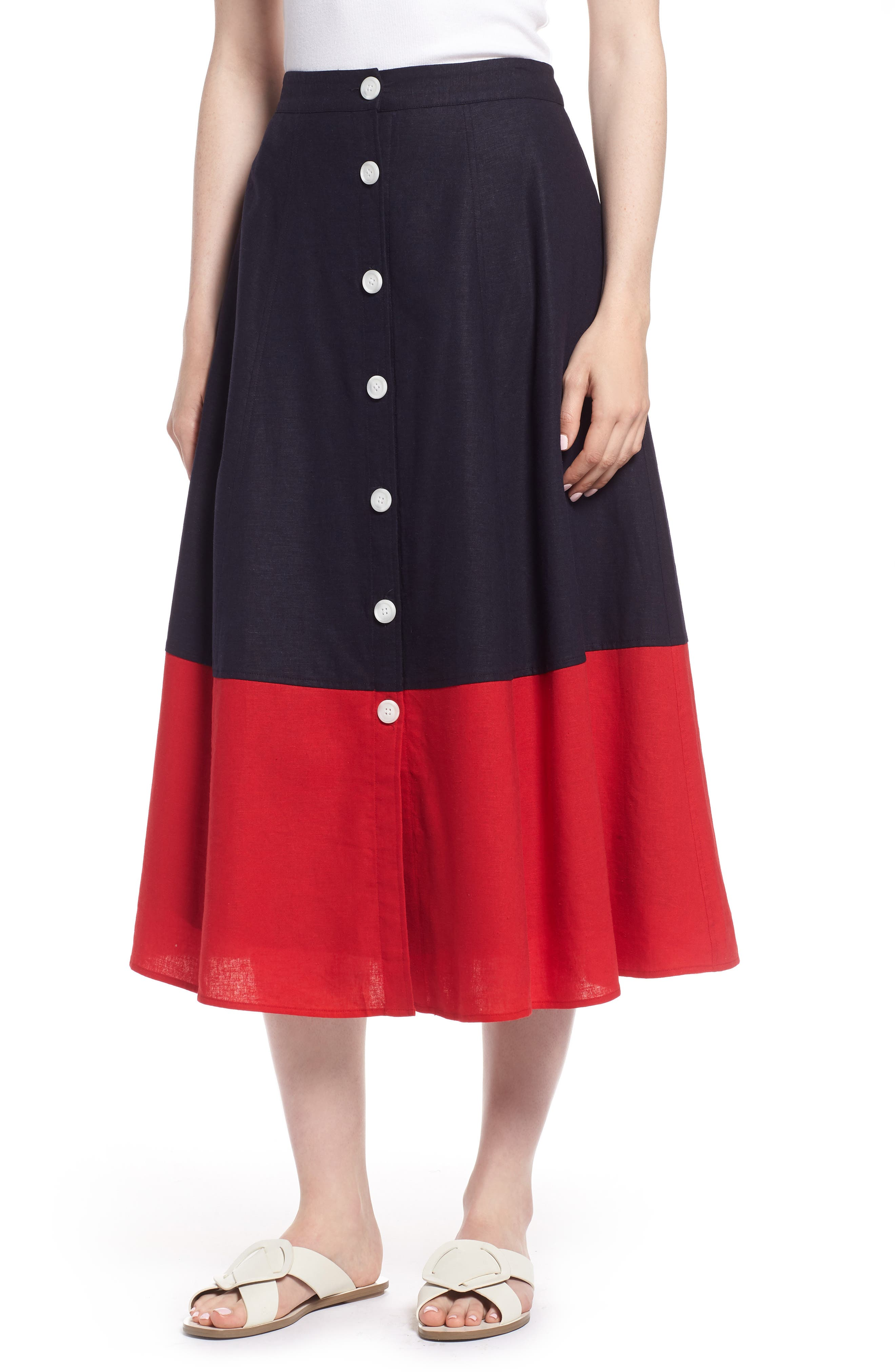 Colorblock Linen Blend Skirt,                             Main thumbnail 1, color,                             Navy- Red Colorblock