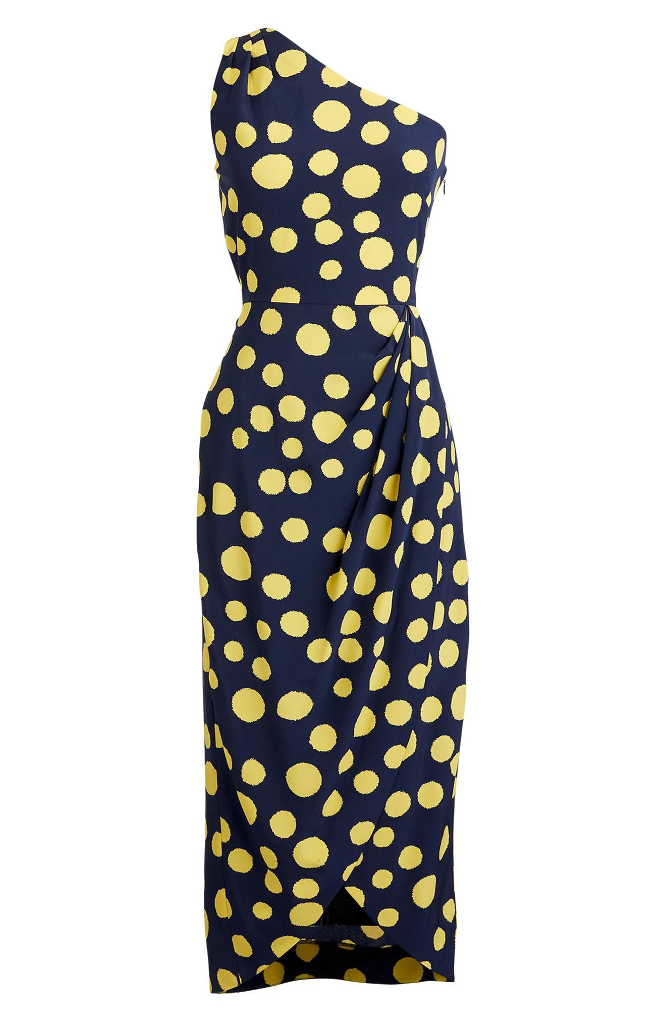 Polka Dot One-Shoulder Silk Dress,                             Alternate thumbnail 7, color,                             Navy
