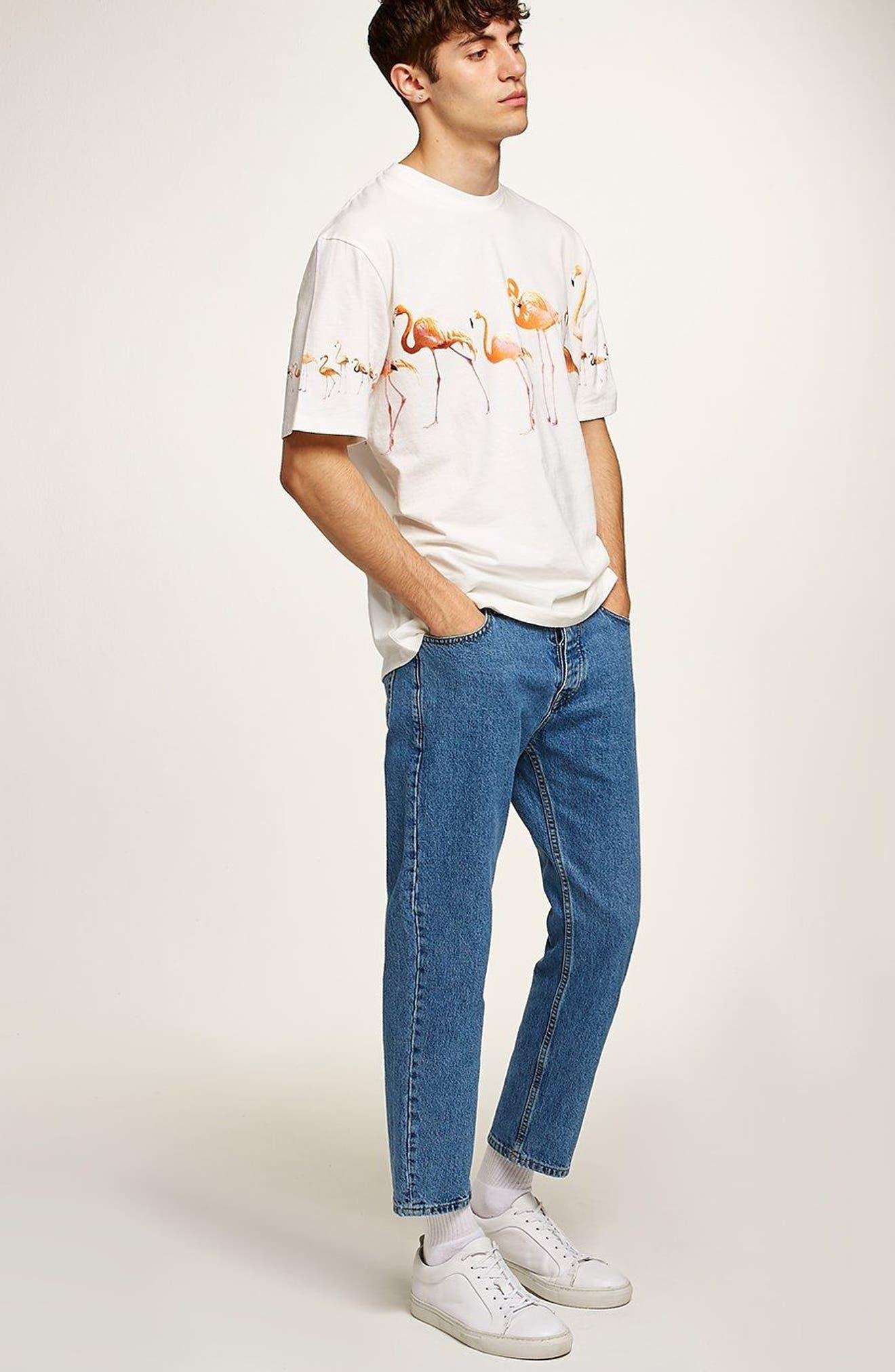 Oversize Flamingo Graphic T-Shirt,                             Alternate thumbnail 5, color,                             Cream