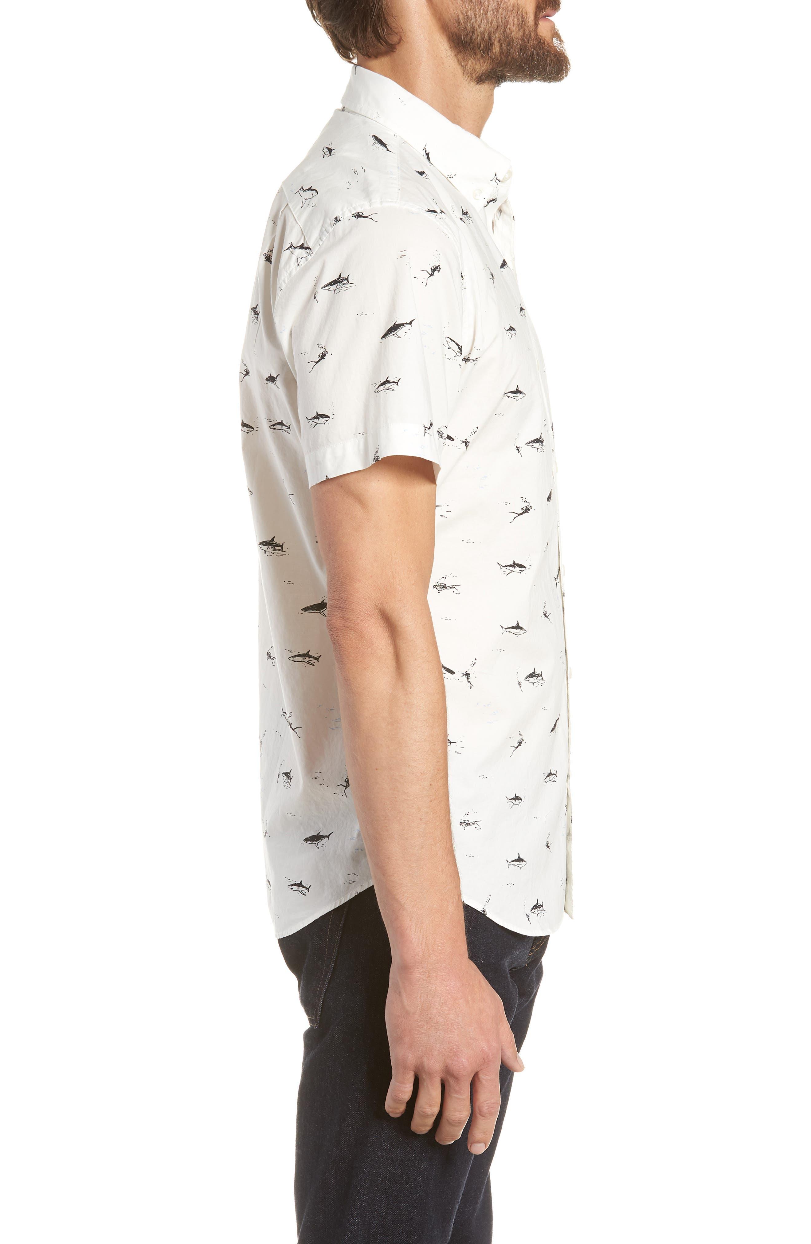 Riviera Slim Fit Shark Print Sport Shirt,                             Alternate thumbnail 4, color,                             Scuba Dive - Jet Black