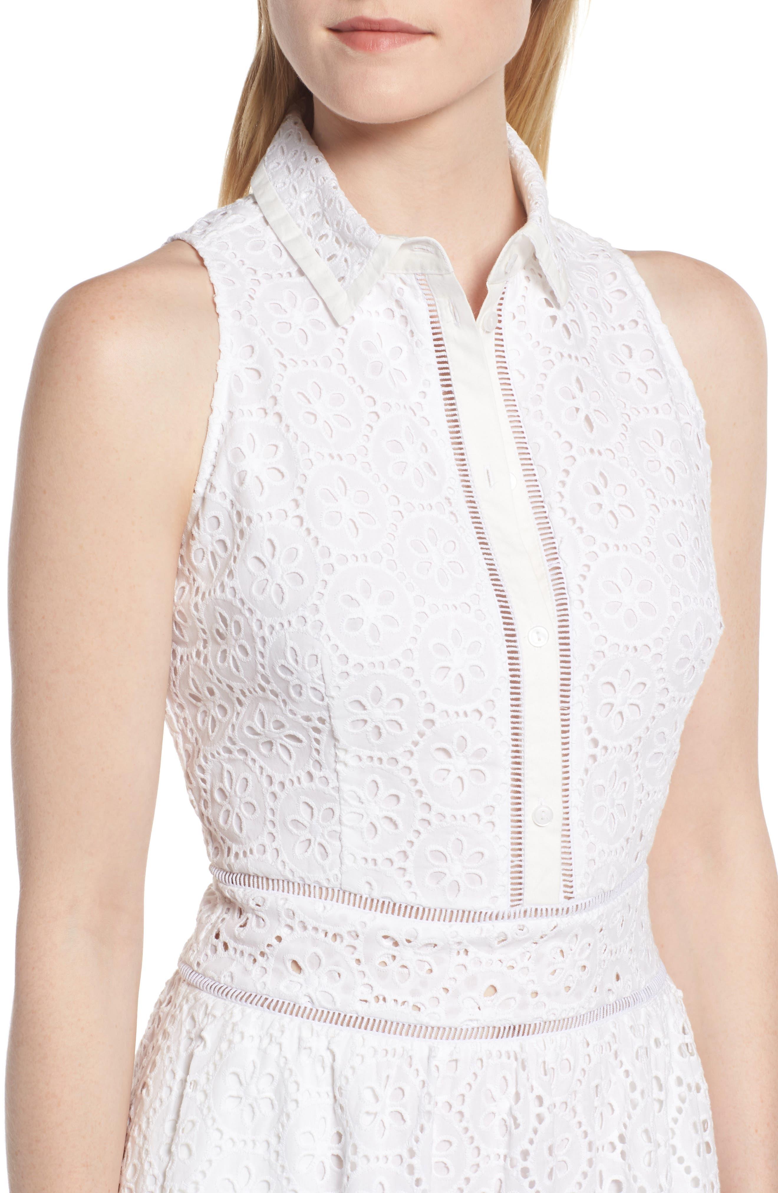 Cotton Eyelet Sleeveless Shirtdress,                             Alternate thumbnail 4, color,                             White