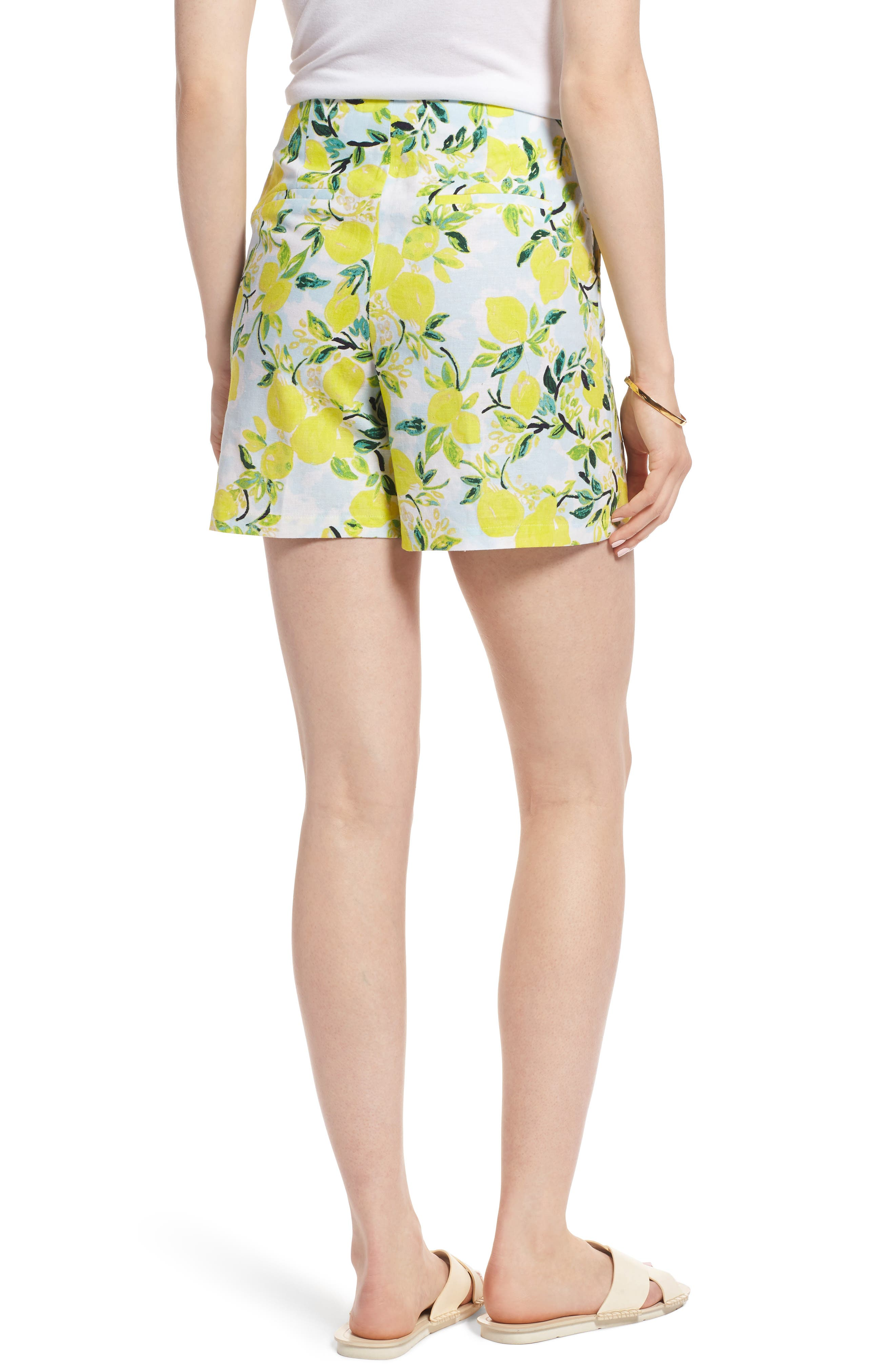 Print Linen Blend Shorts,                             Alternate thumbnail 2, color,                             Blue- Yellow Citrus Print