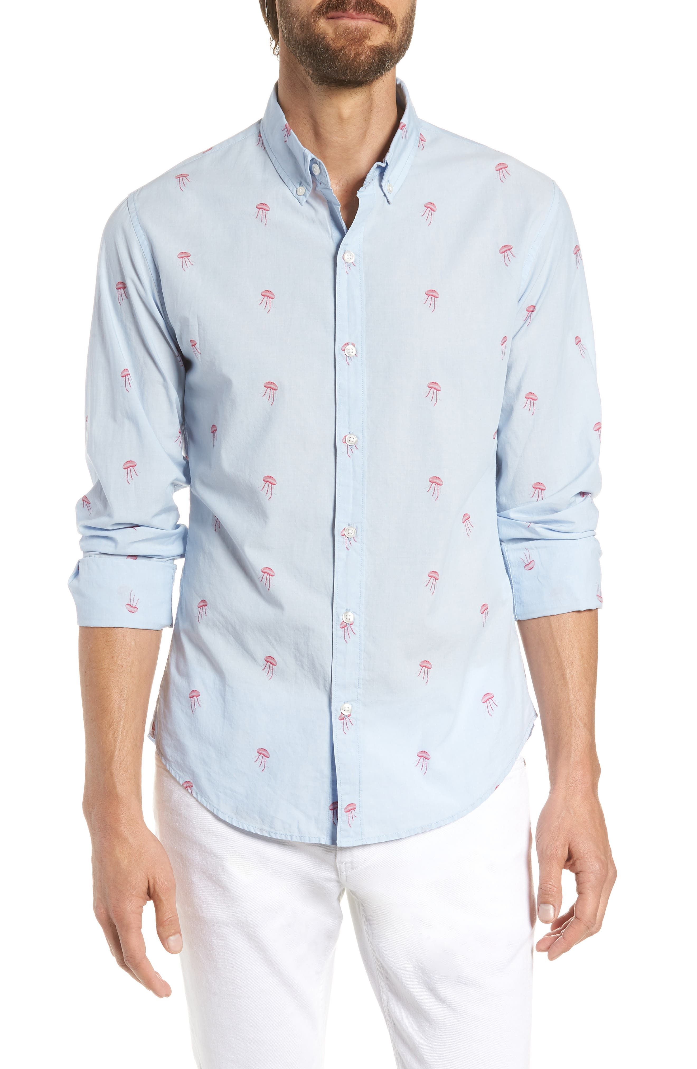 Summerweight Slim Fit Jellyfish Print Sport Shirt,                             Main thumbnail 1, color,                             Little Jelly - Peony Coral
