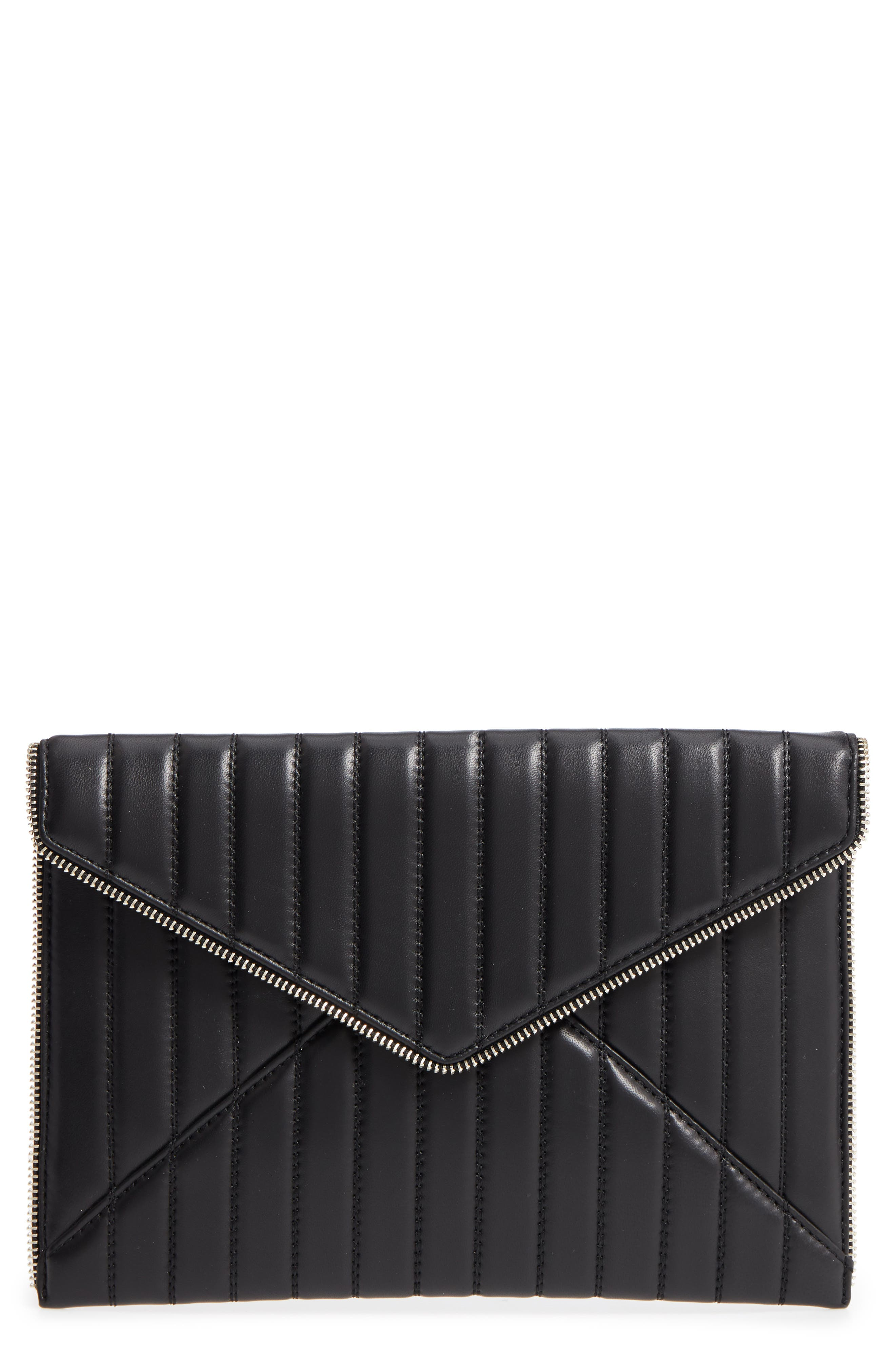 Leo Quilted Leather Clutch,                             Main thumbnail 1, color,                             Black