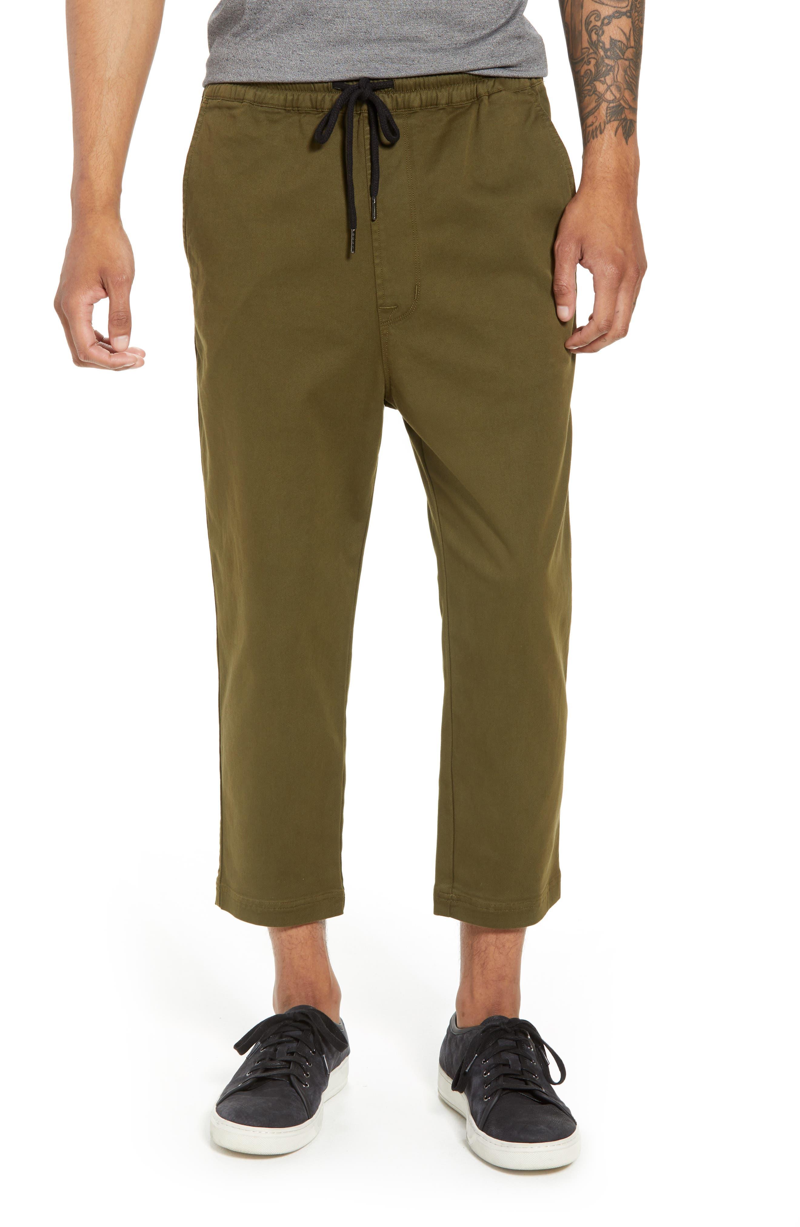 Hudson Leo Drop Crotch Pants,                         Main,                         color, Olive