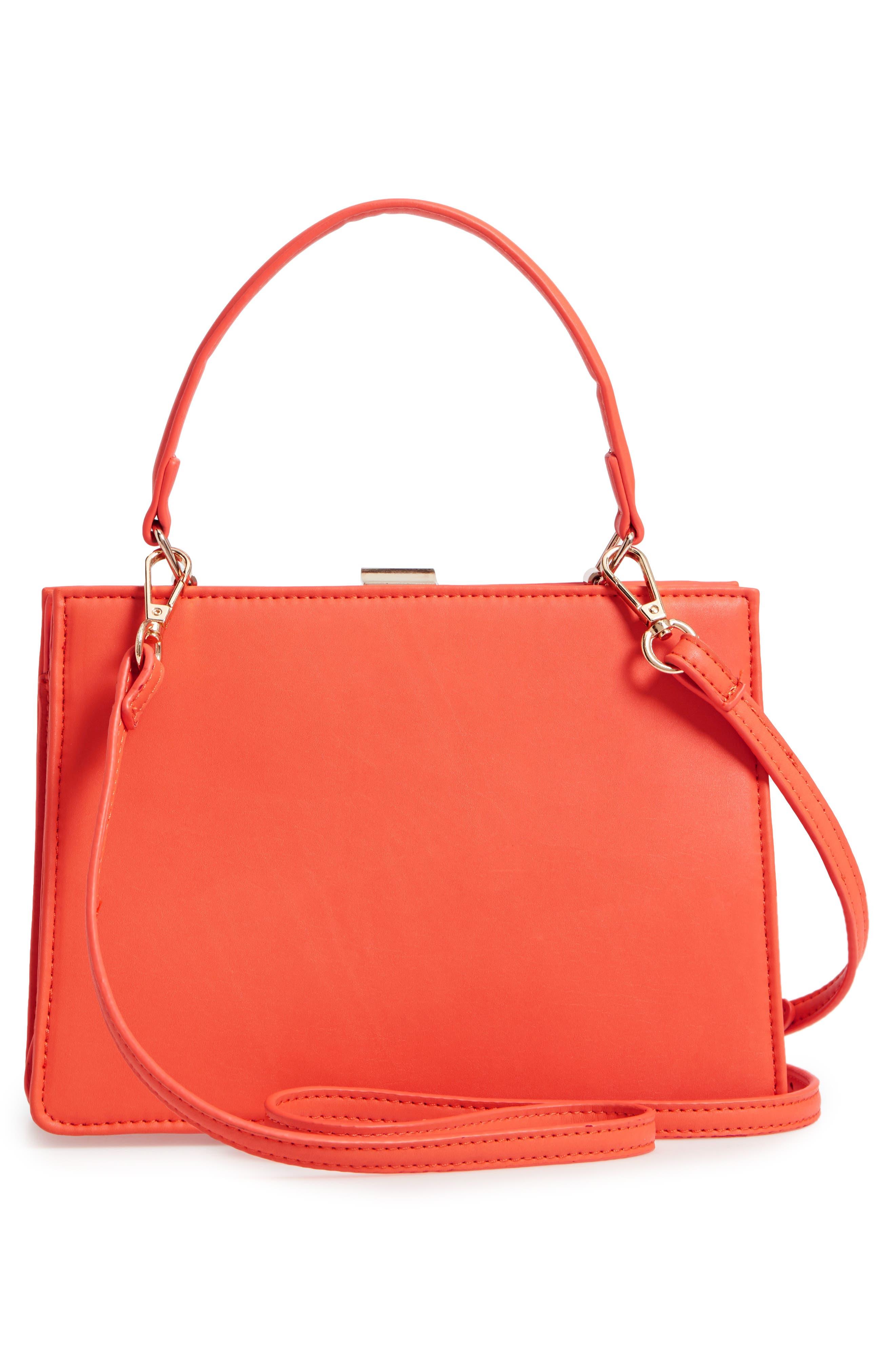 Faux Leather Frame Handbag,                             Alternate thumbnail 3, color,                             Red