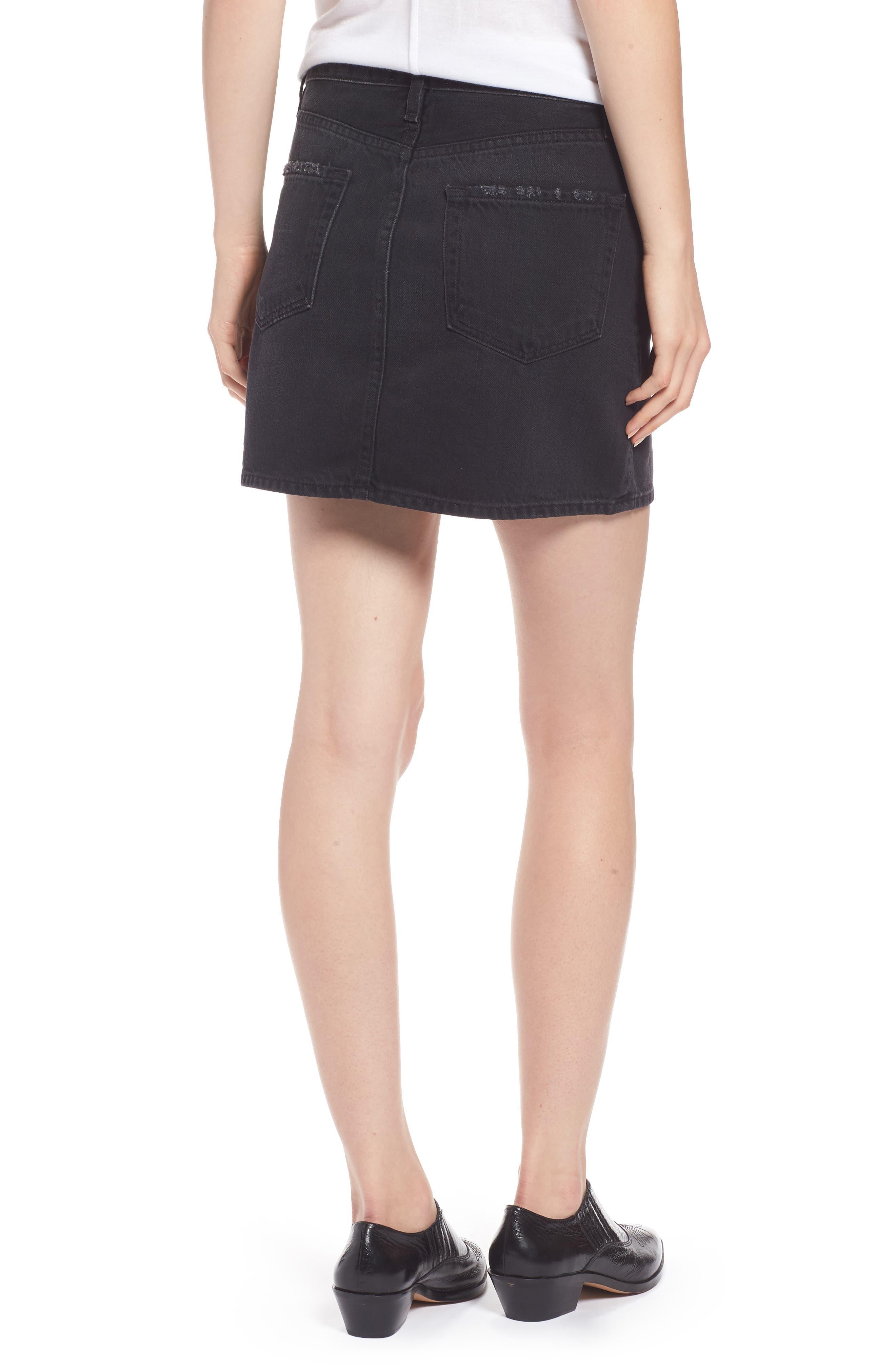 Le Mini Denim Skirt,                             Alternate thumbnail 2, color,                             Conwell