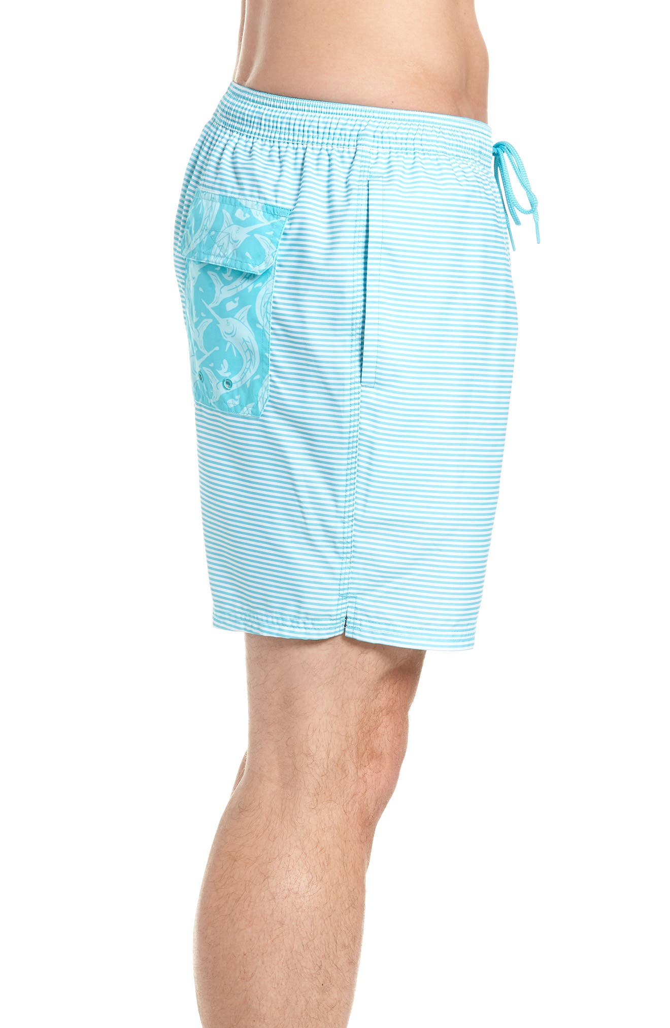 Chappy Stripe Swim Trunks,                             Alternate thumbnail 4, color,                             Turquoise
